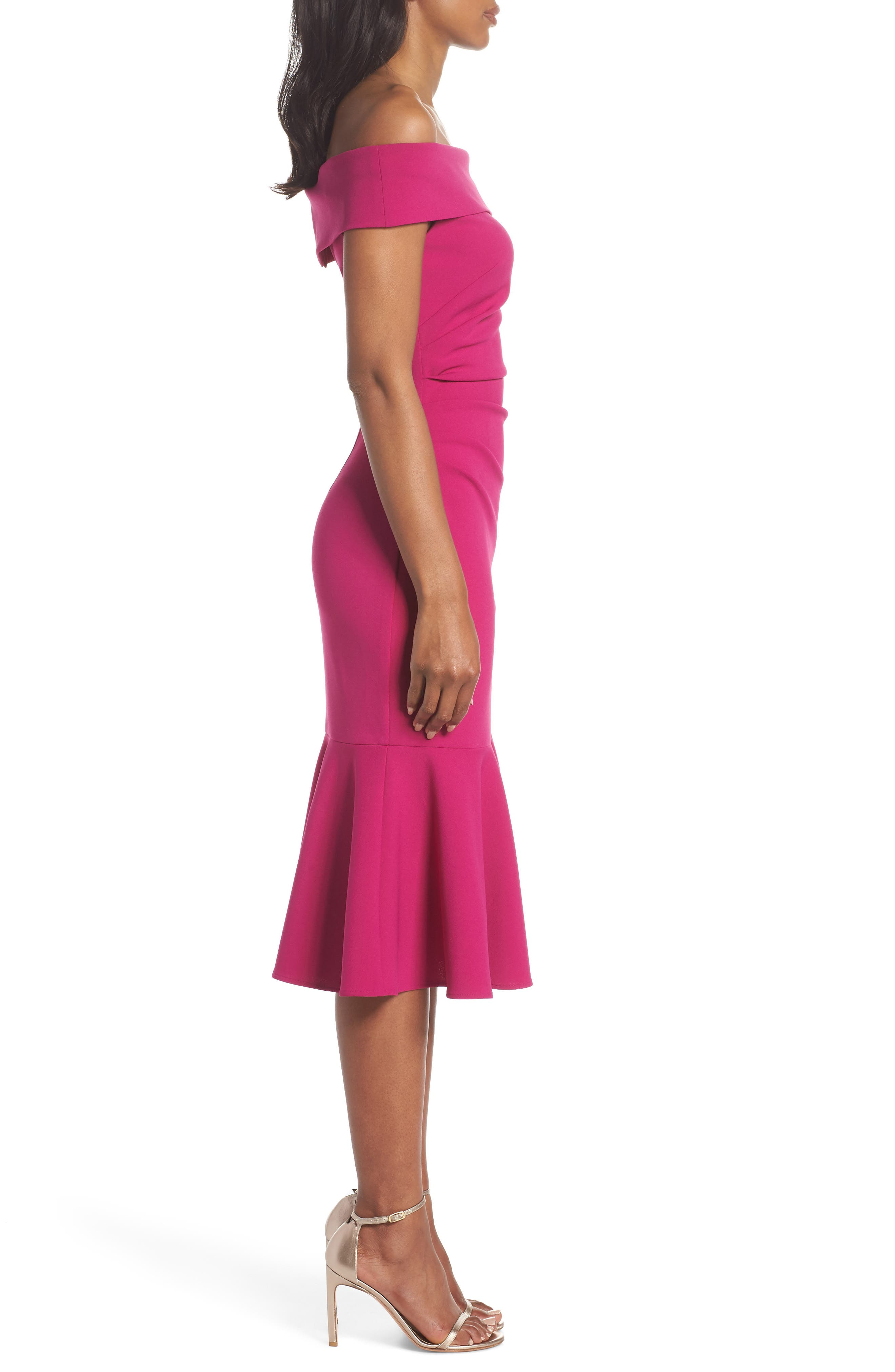 Off the Shoulder Midi Dress,                             Alternate thumbnail 3, color,                             Raspberry