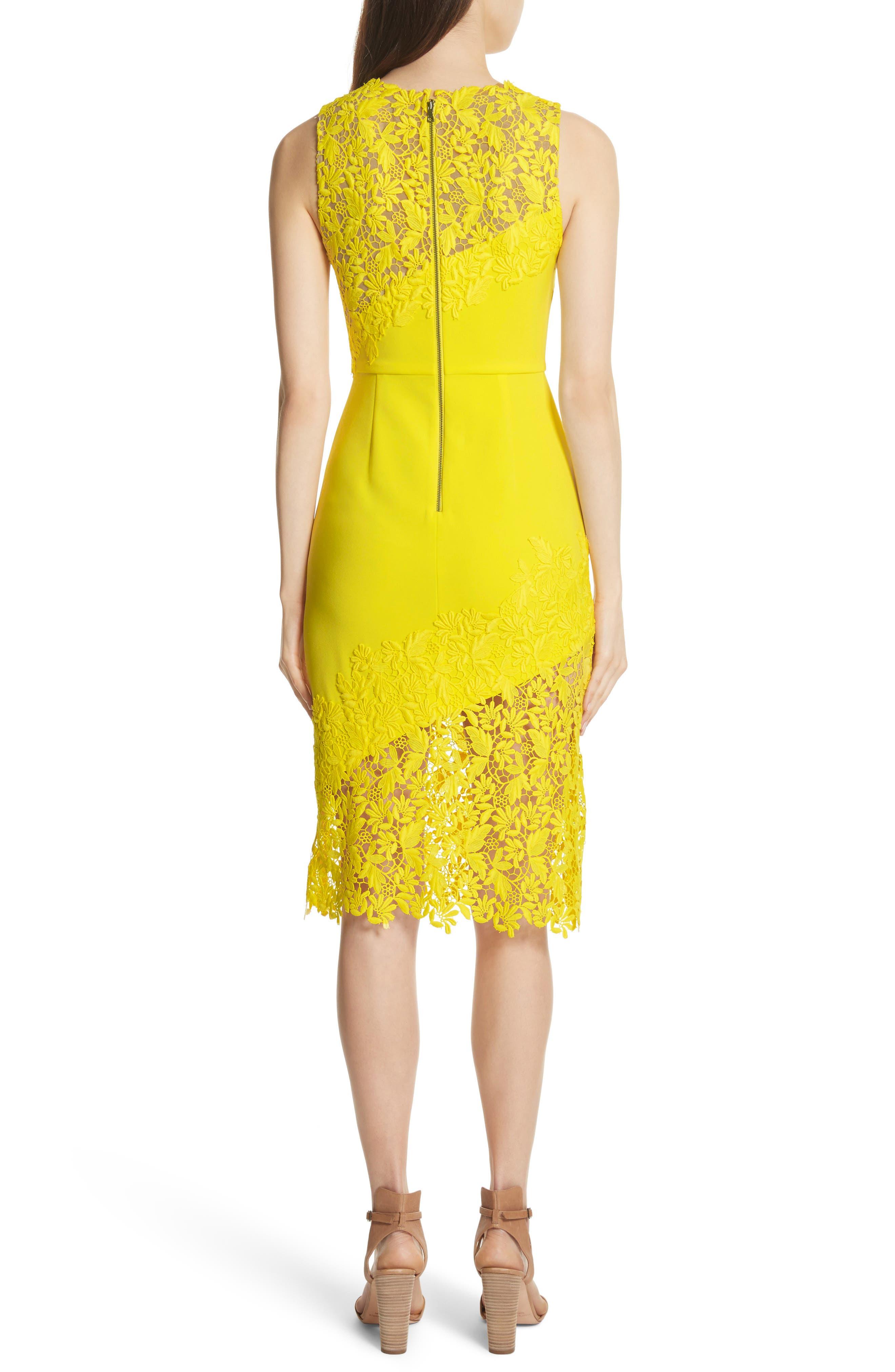 Margy Lace Overlay Body-Con Dress,                             Alternate thumbnail 2, color,                             Lemon