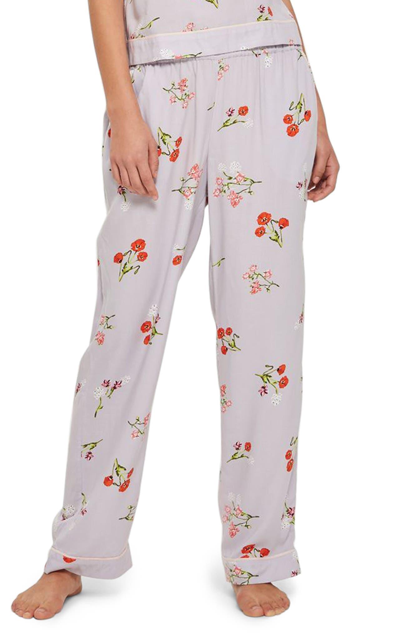 Poppy Print Pajama Pants,                             Main thumbnail 1, color,                             Light Blue Multi
