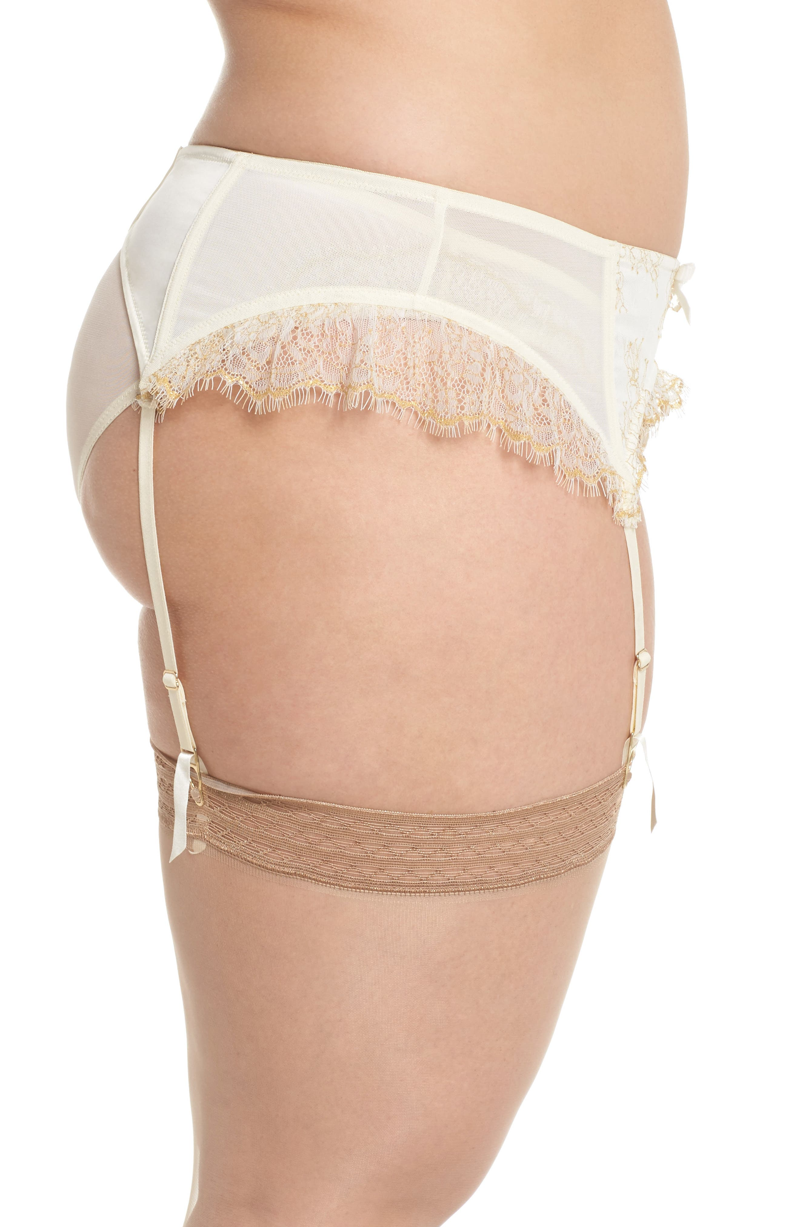 Karine Lace Garter Belt,                             Alternate thumbnail 3, color,                             Ivory