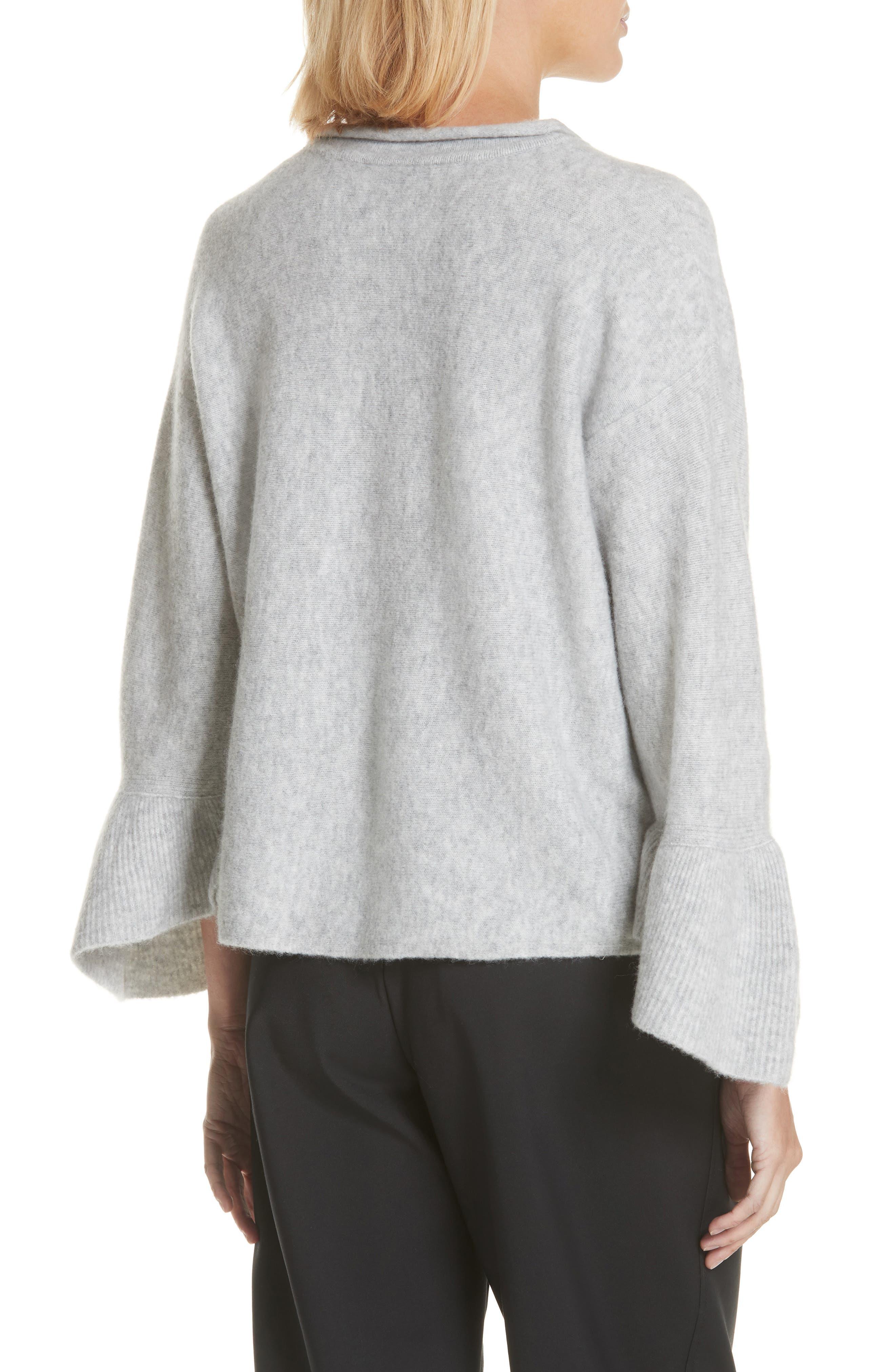 Ruffle Cuff Wool Blend Pullover,                             Alternate thumbnail 2, color,                             Grey Melange