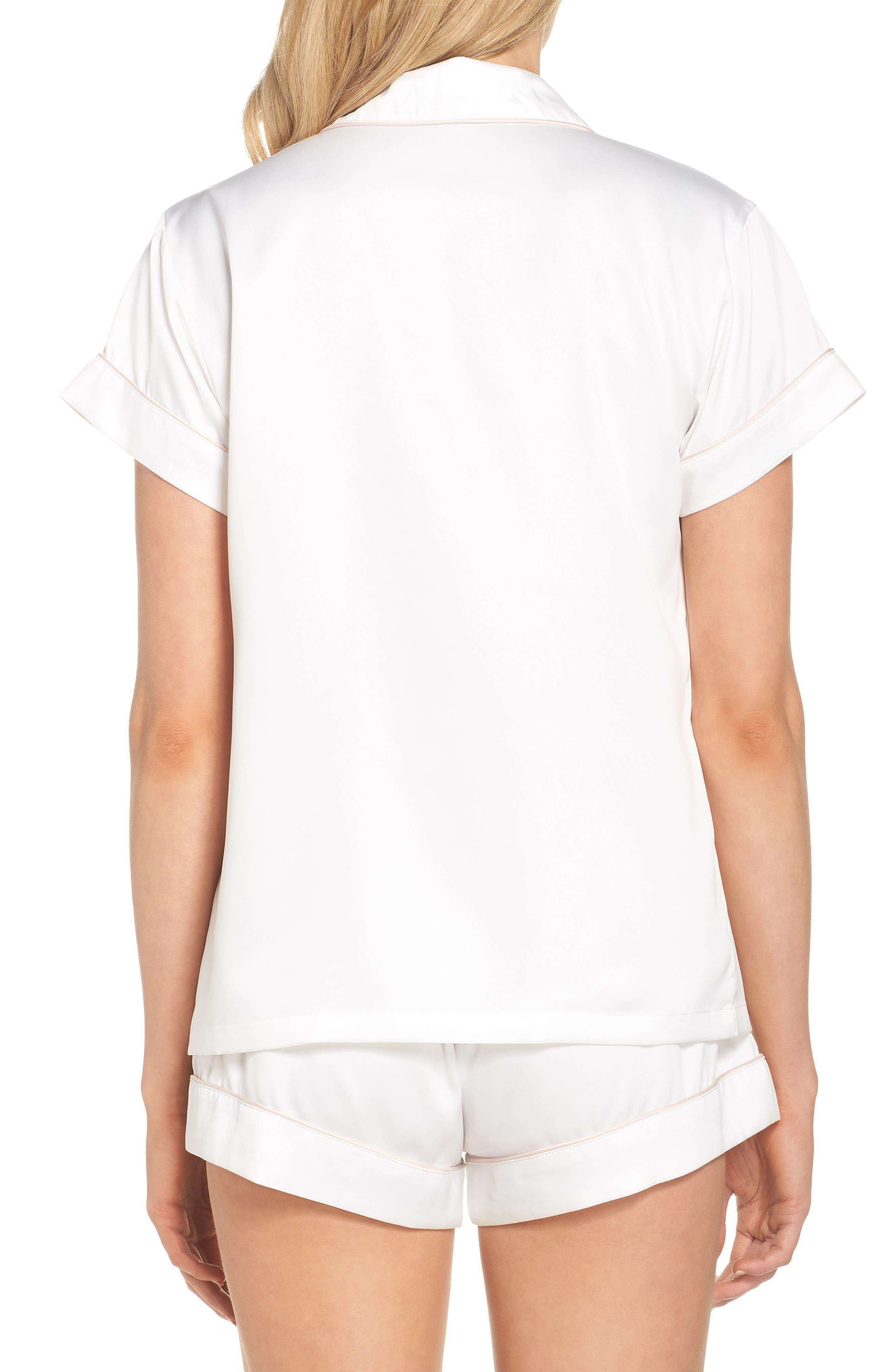 Piped Short Pajamas,                             Alternate thumbnail 2, color,                             White