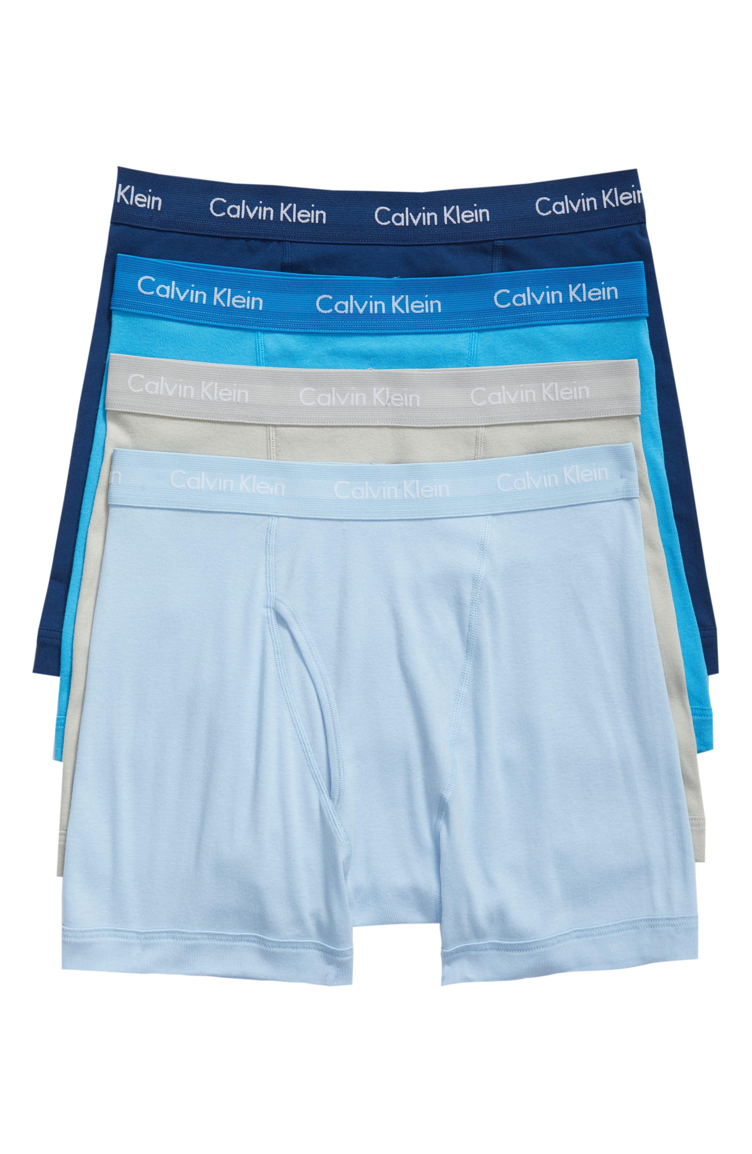 Classic 4-Pack Cotton Boxer Briefs,                             Main thumbnail 1, color,                             Gaze/ Blue Multi
