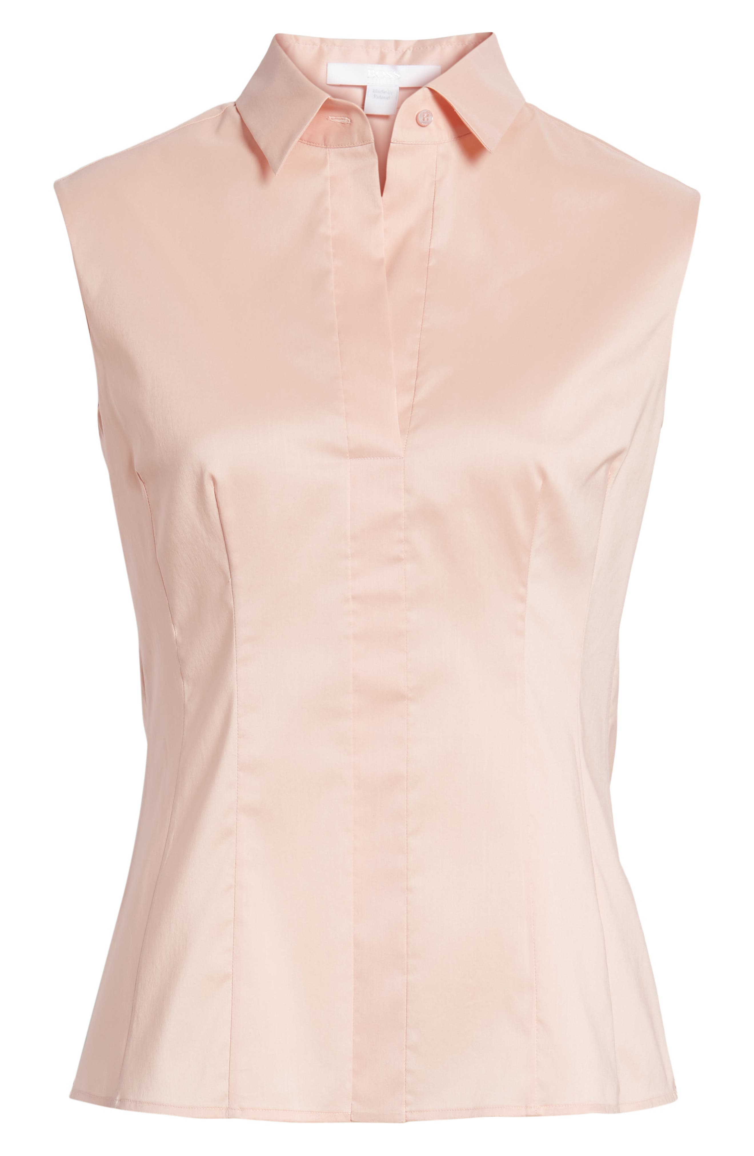 Bashiva Stretch Poplin Blouse,                             Alternate thumbnail 6, color,                             Blush