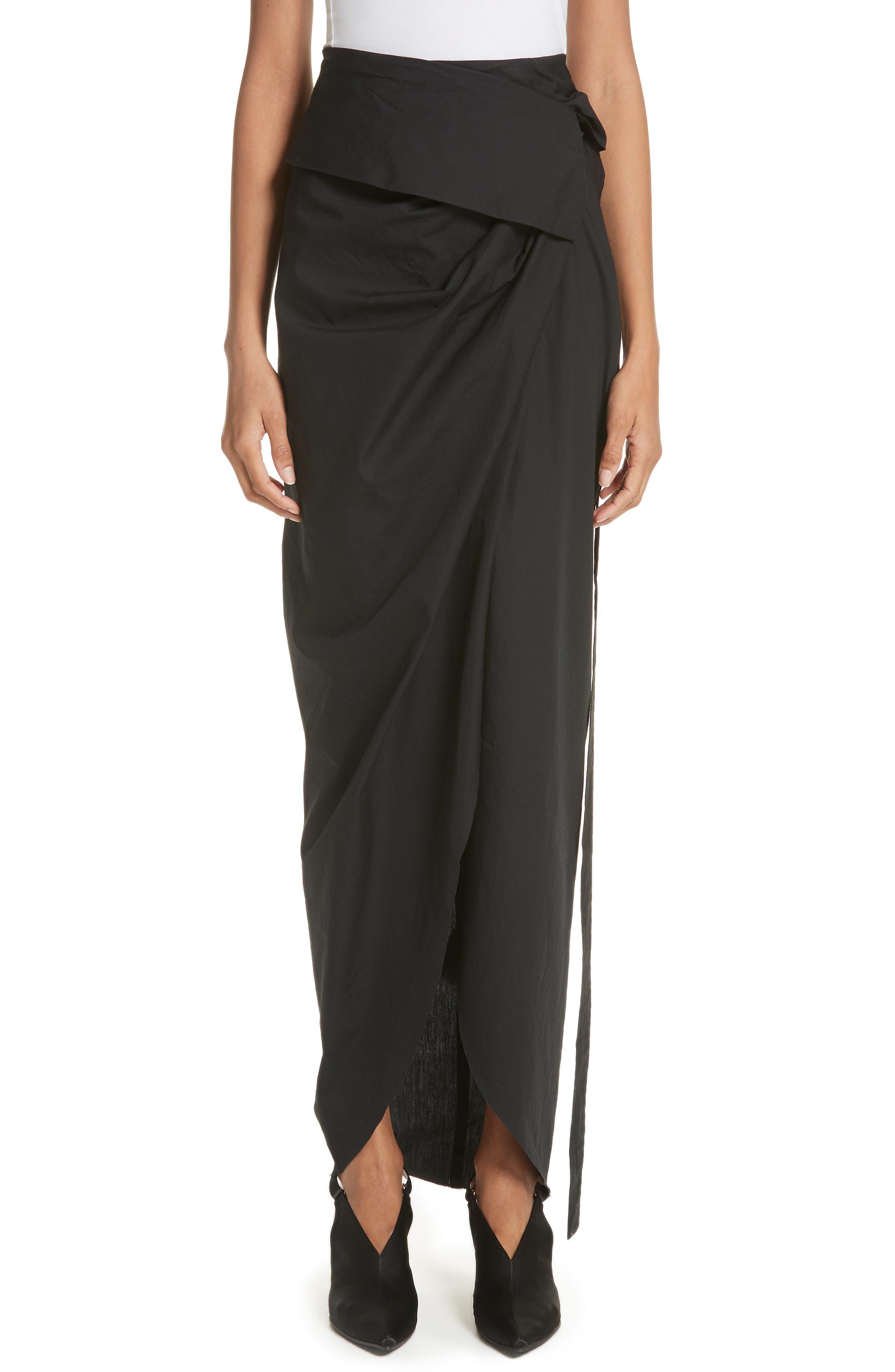 High Waist Wrap Skirt,                             Main thumbnail 1, color,                             Black