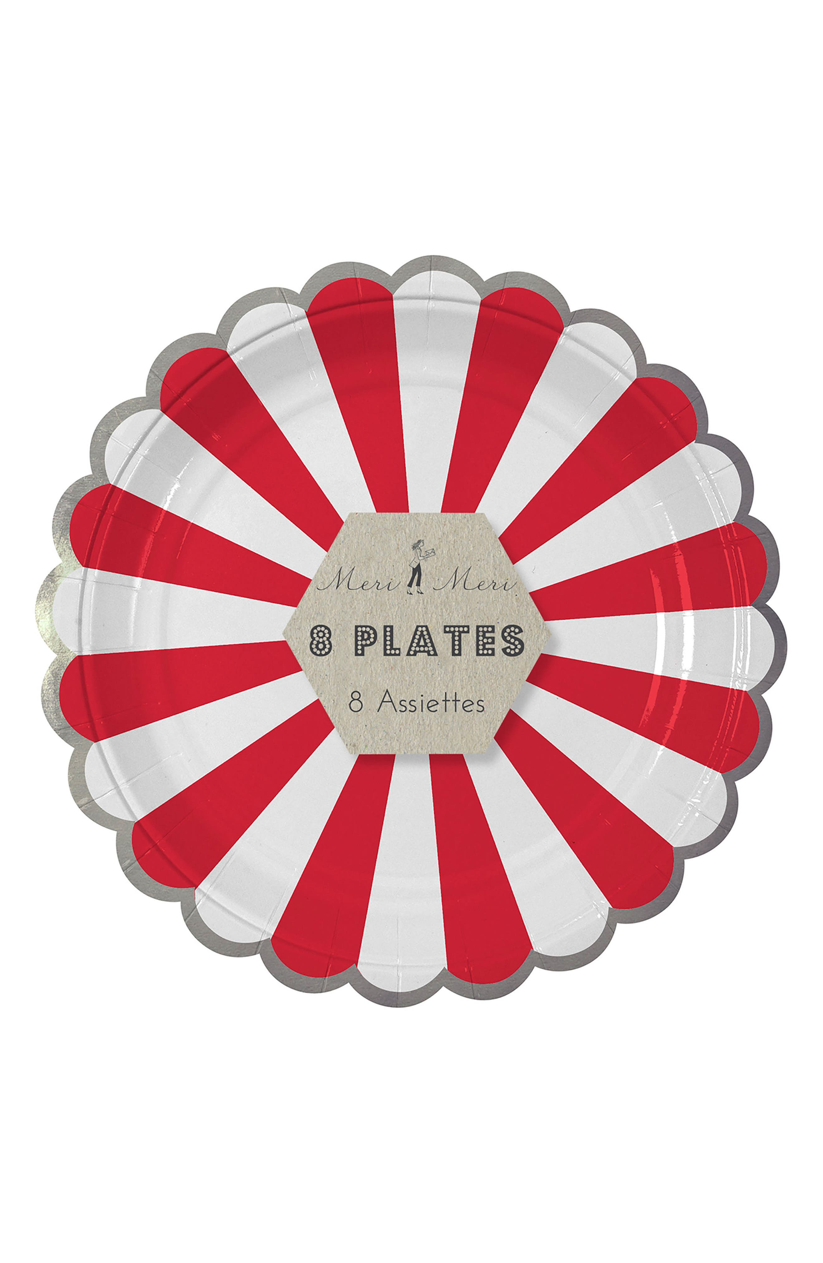 Small Fan Stripe Pack of 8 Plates,                             Alternate thumbnail 2, color,                             Red