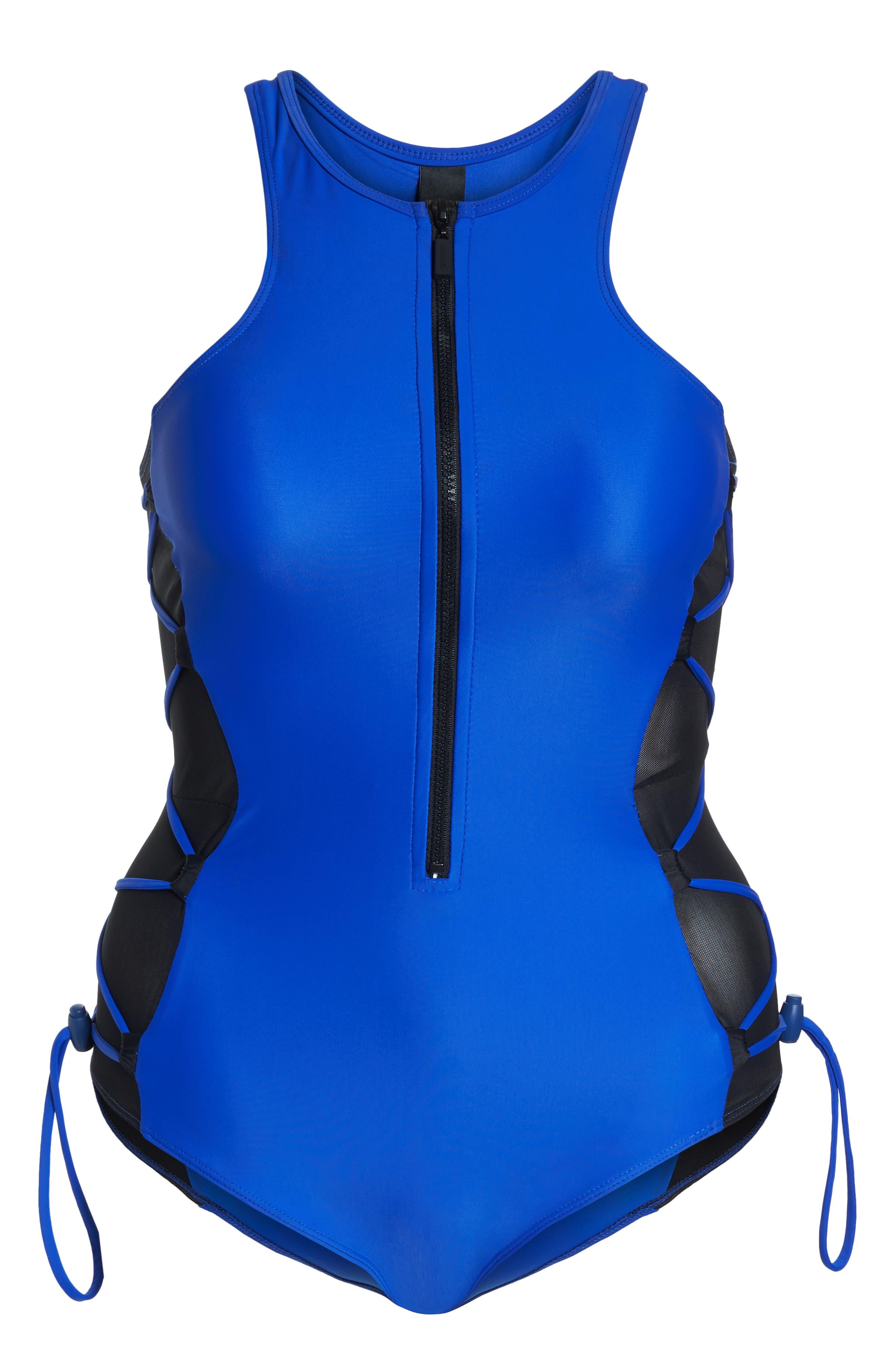 Mesh Side One-Piece Swimsuit,                             Alternate thumbnail 6, color,                             Blue/ Black