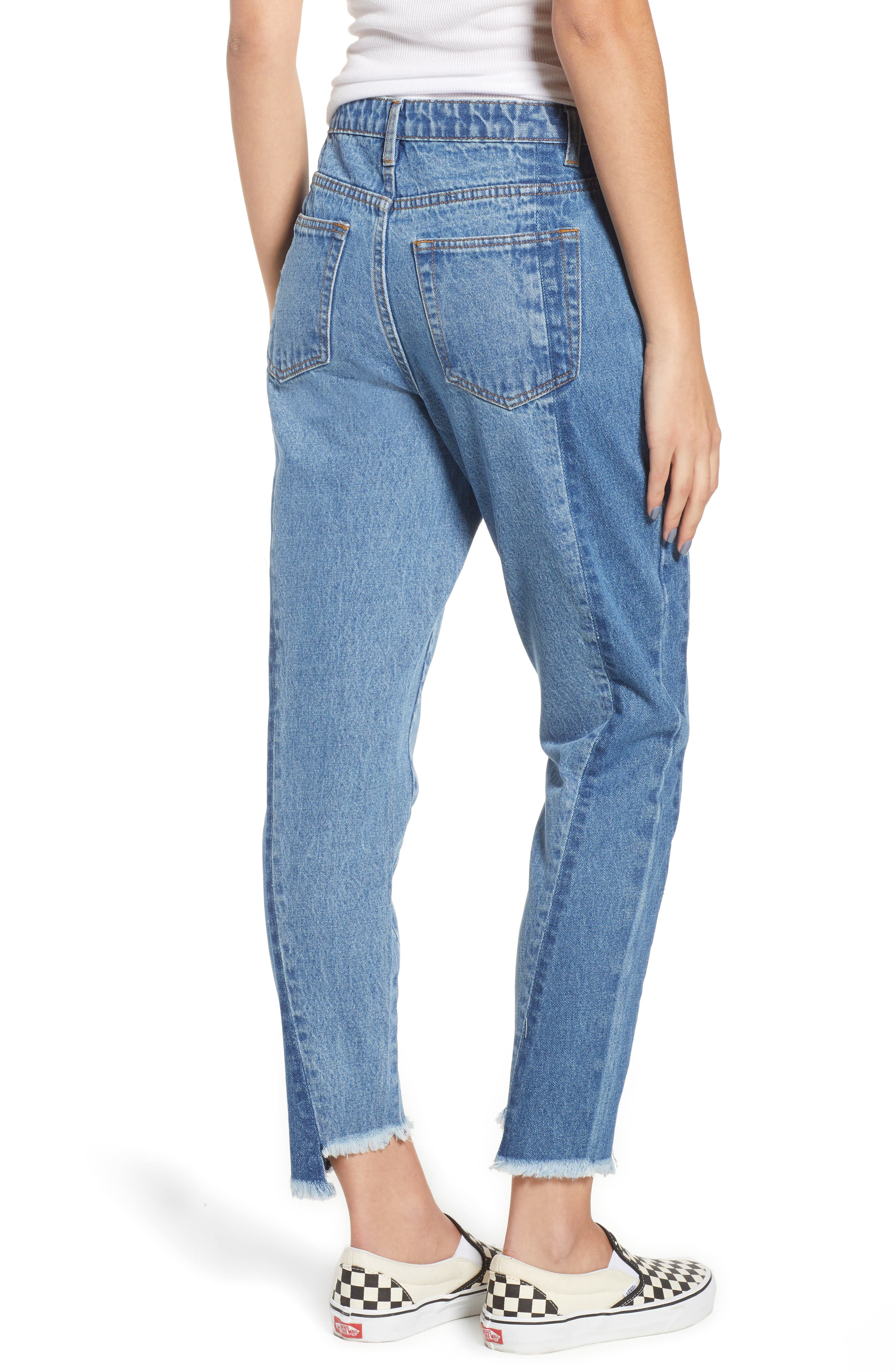 Step Hem Two-Tone Rigid Jeans,                             Alternate thumbnail 2, color,                             Light Med Wash