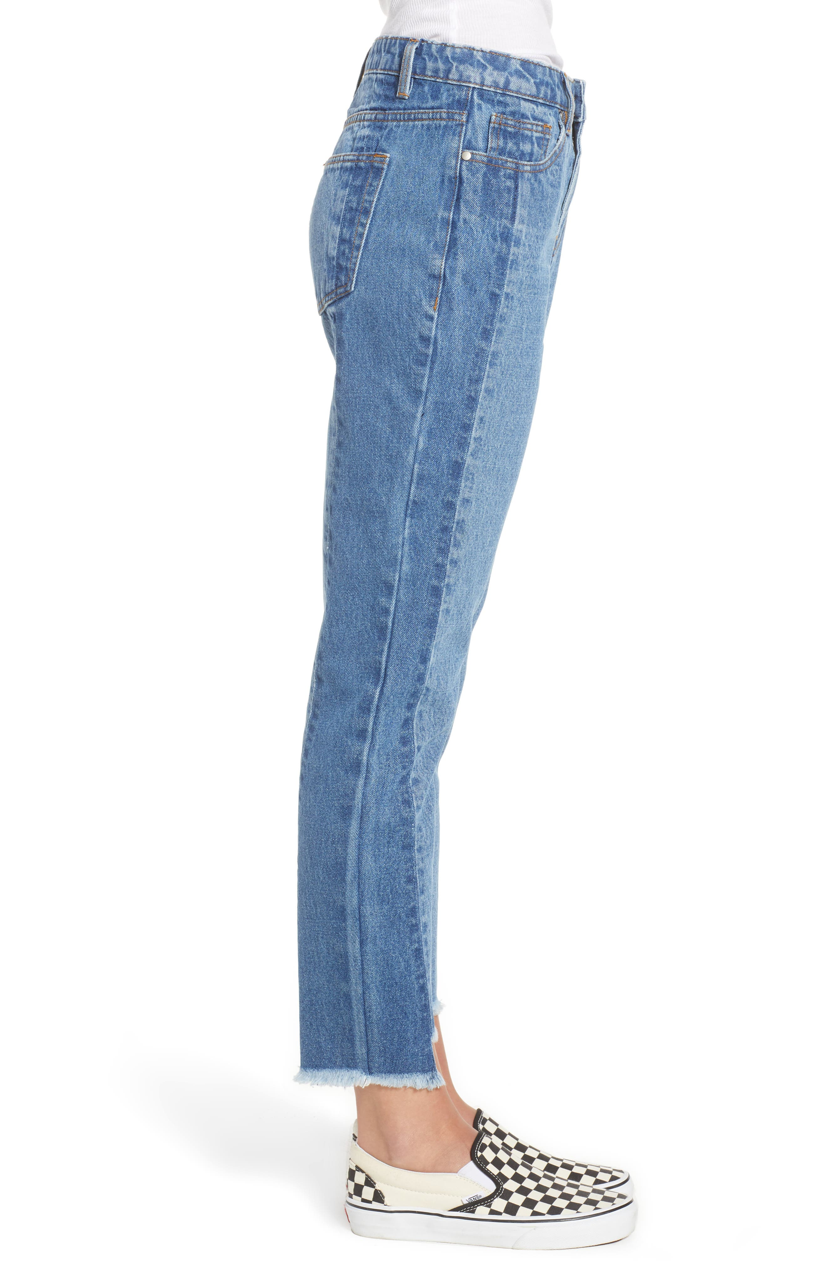 Step Hem Two-Tone Rigid Jeans,                             Alternate thumbnail 3, color,                             Light Med Wash