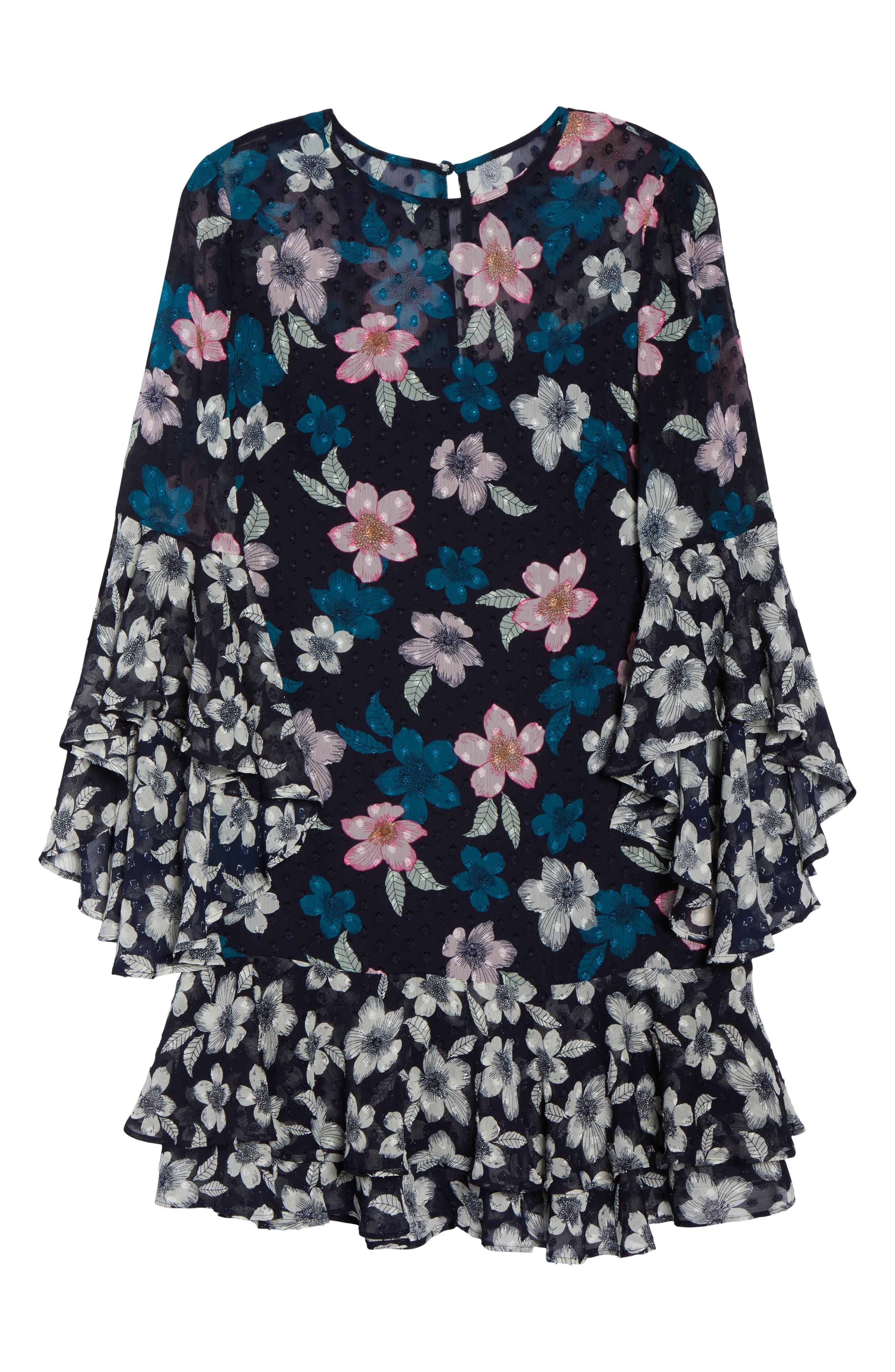 Flounce Bell Sleeve Floral Fil Coupé Chiffon Shift Dress,                             Alternate thumbnail 7, color,                             Navy