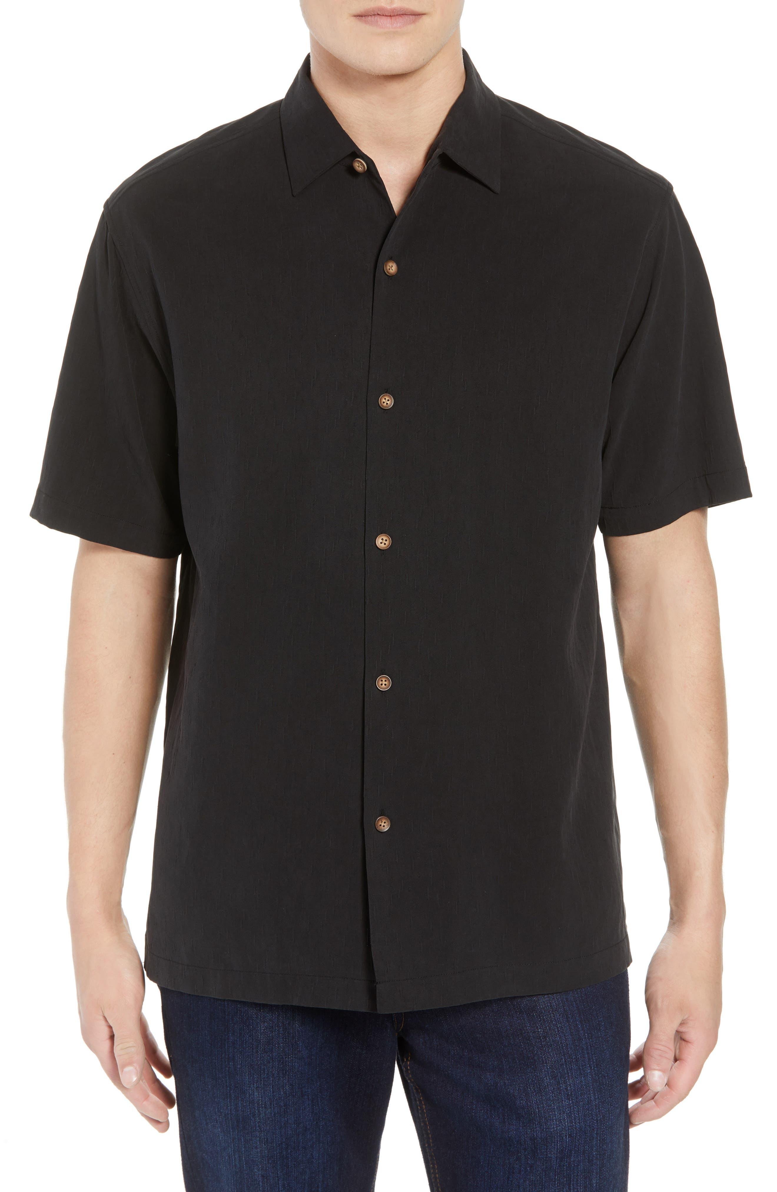 Bahama Reserve Silk Camp Shirt,                         Main,                         color, Black