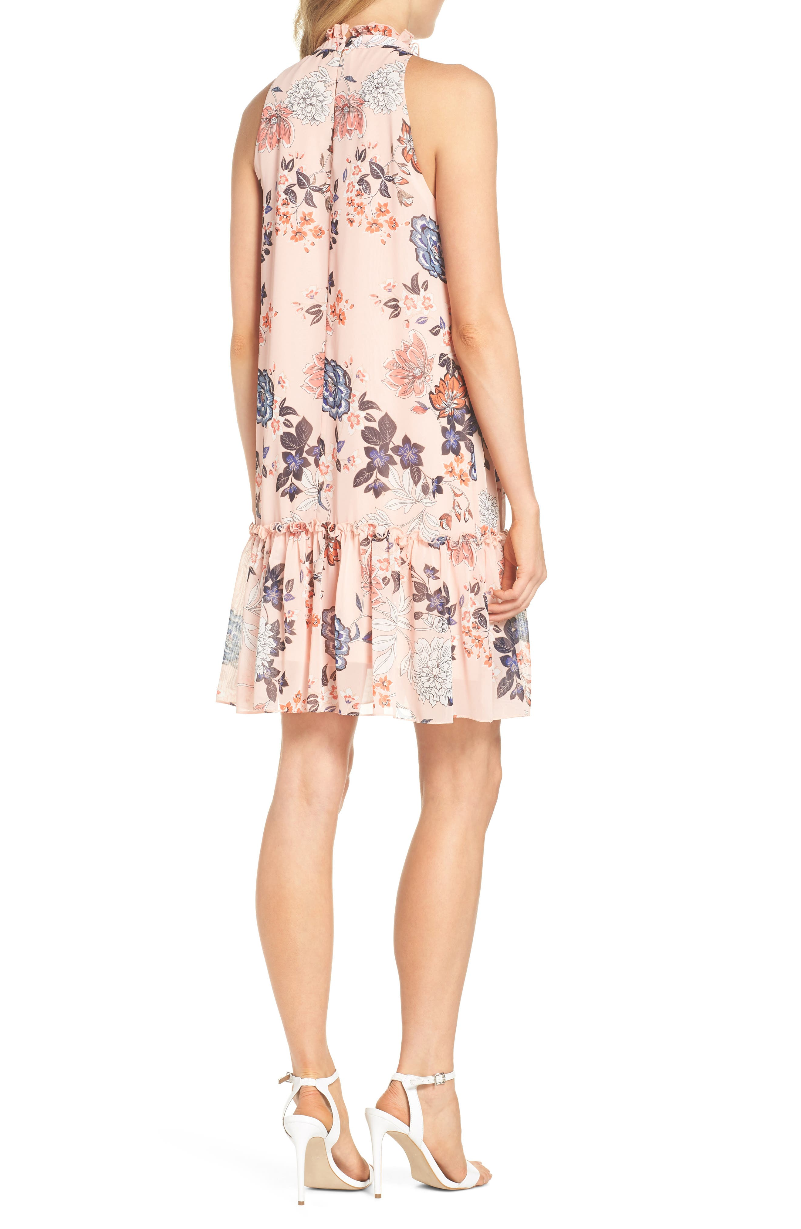 Floral Ruffle Neck Chiffon Shift Dress,                             Alternate thumbnail 2, color,                             Blush