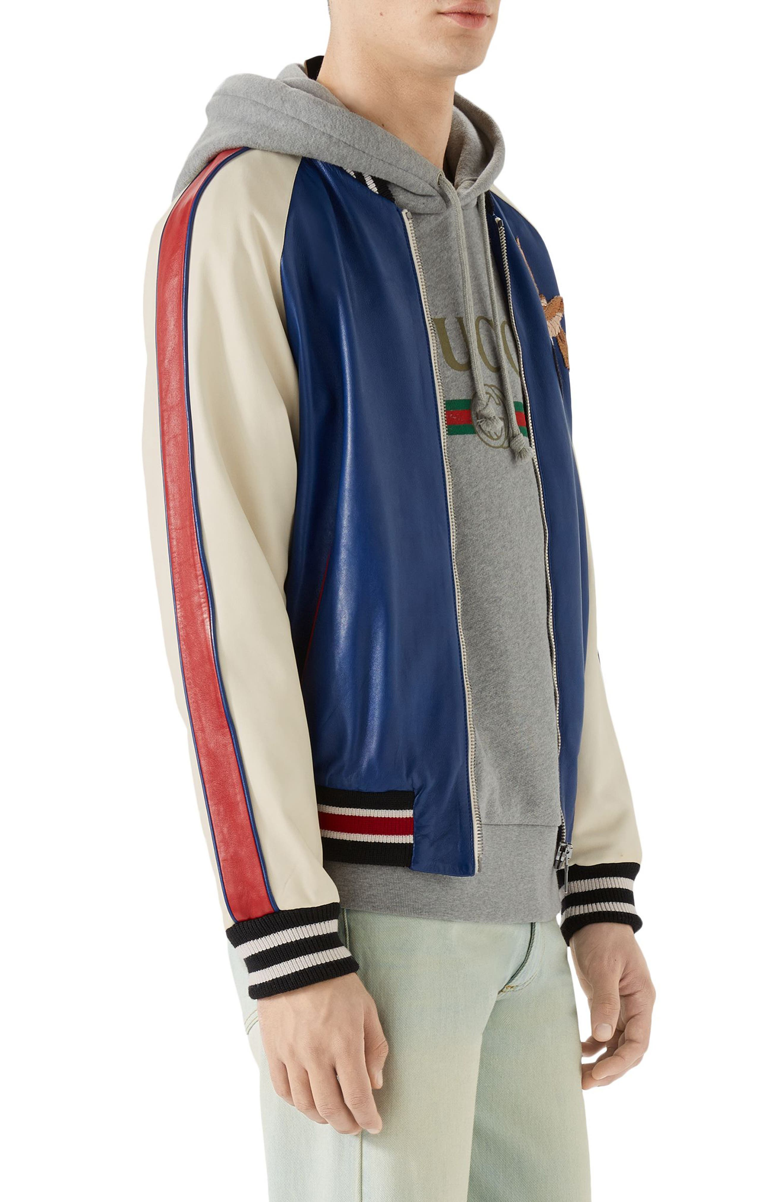 Multicolor Leather Bomber Jacket,                             Alternate thumbnail 3, color,                             Cobalt Blue