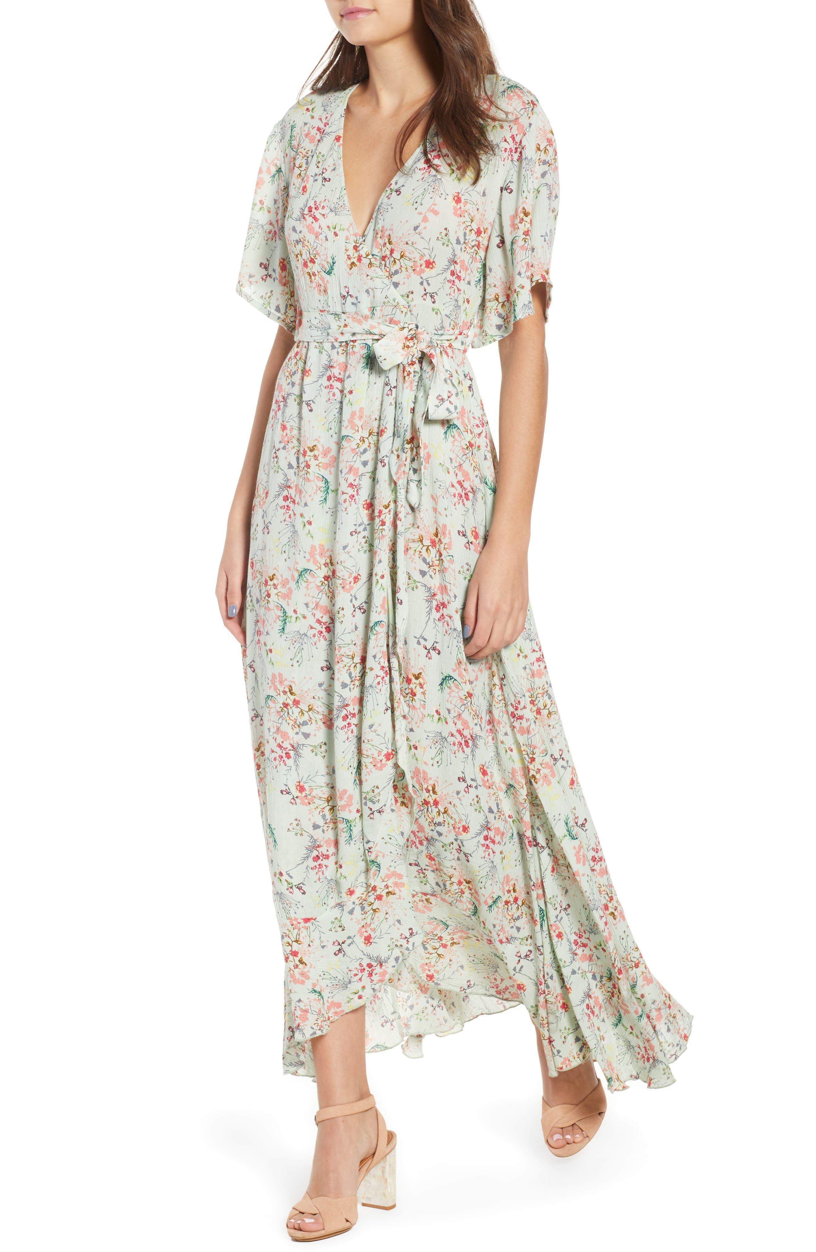 Secret Escape Floral Faux Wrap Maxi Dress,                         Main,                         color, Sage