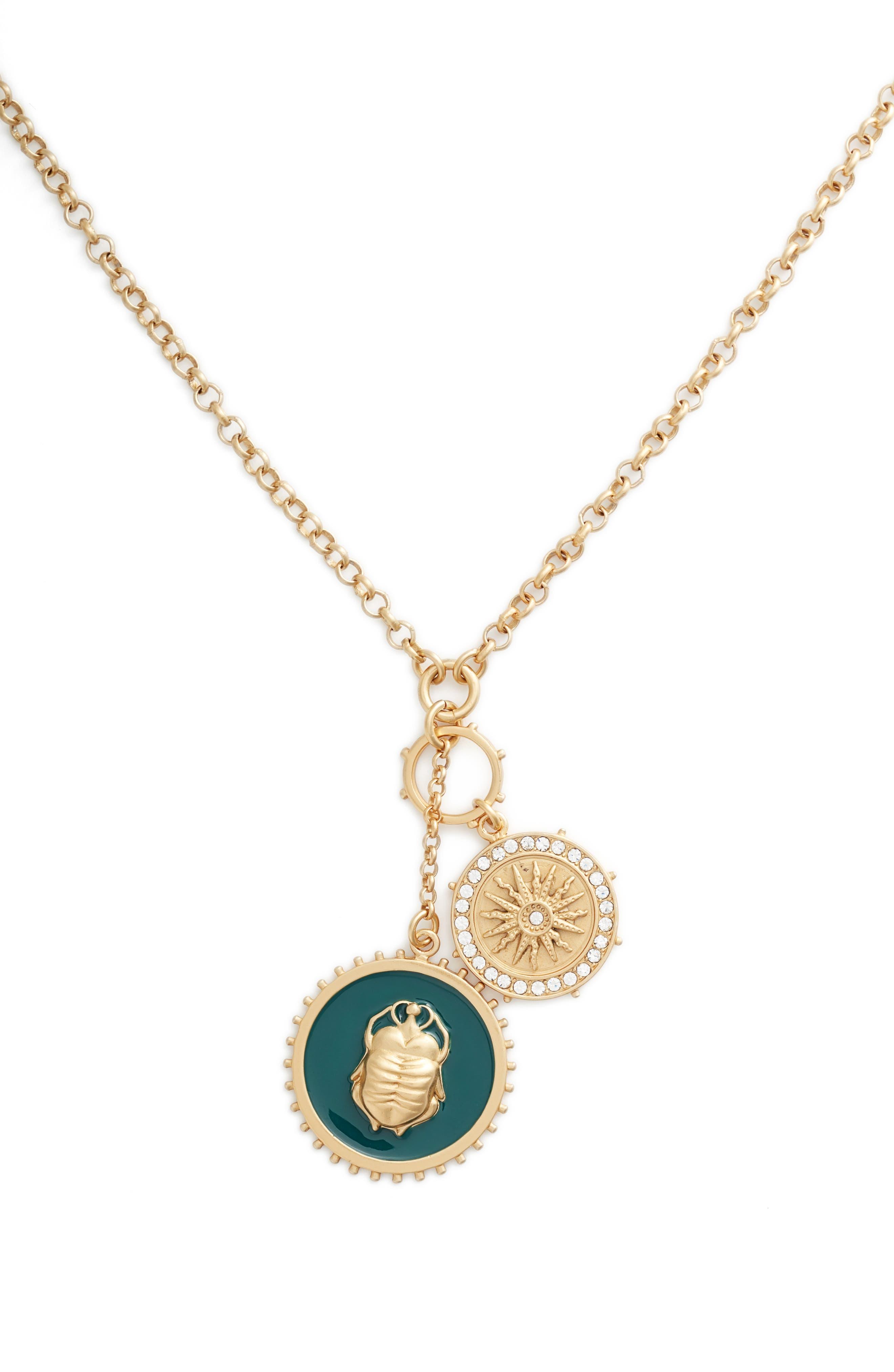Enamel Scarab Pendant Necklace,                             Alternate thumbnail 2, color,                             Gold