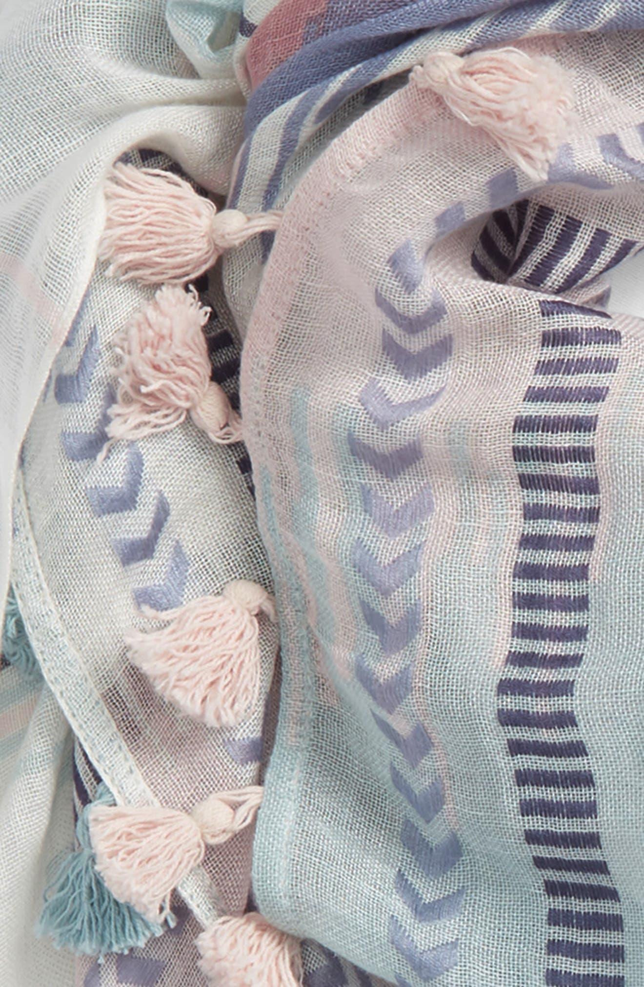 Caslon Ikat Stripe Linen Blend Scarf,                             Alternate thumbnail 3, color,                             Pink Printed Ikat