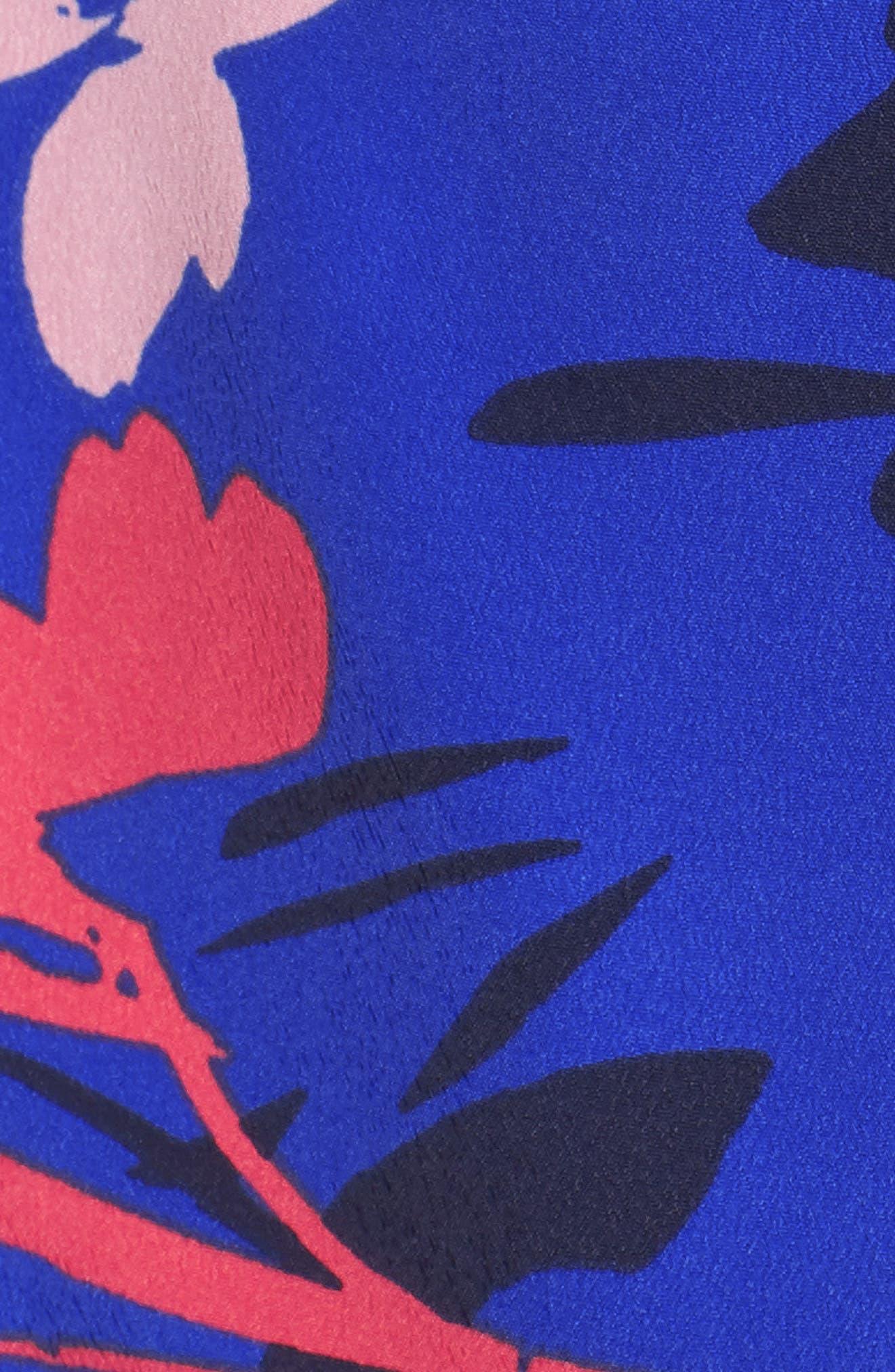 Floral Print Crop Jumpsuit,                             Alternate thumbnail 6, color,                             Blue/ Pink