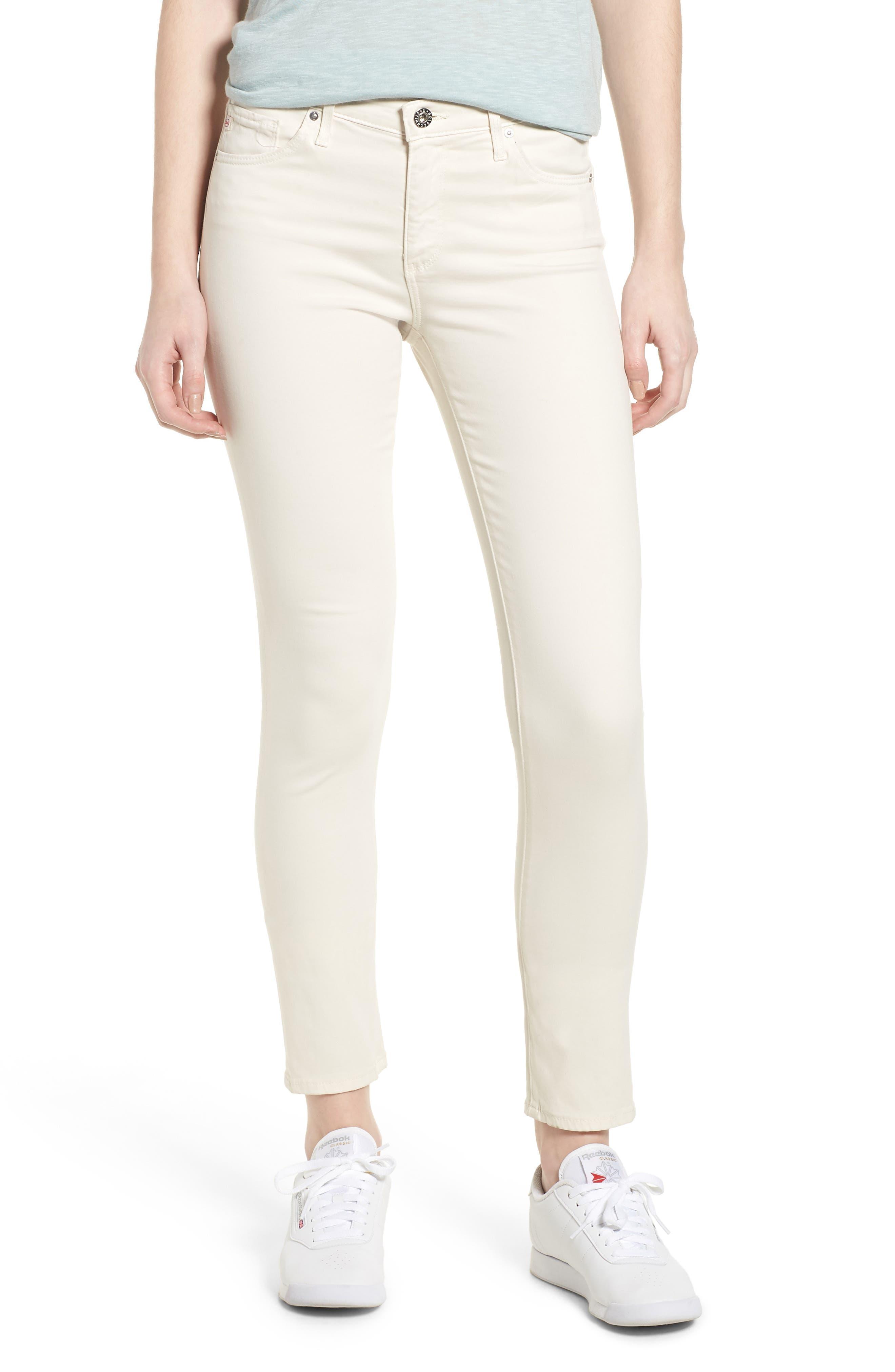 'The Prima' Cigarette Leg Skinny Jeans,                         Main,                         color, Ivory Dust