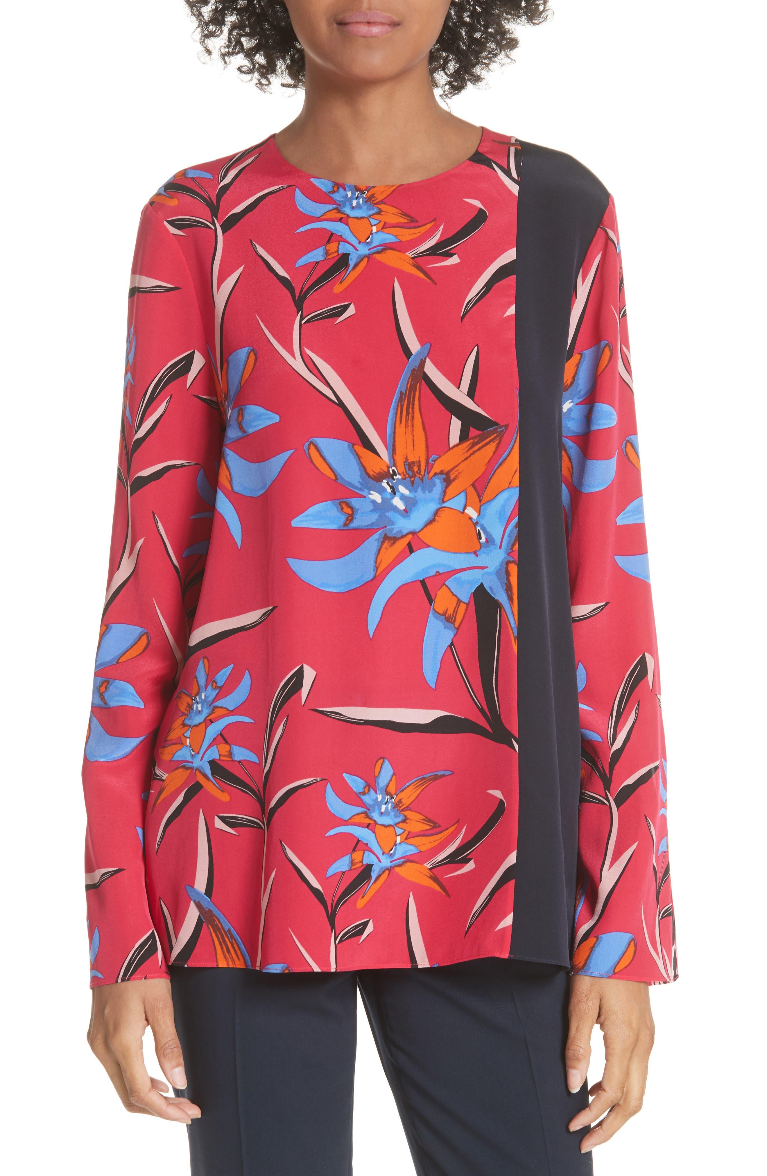 Diane von Furstenberg Side Slit Silk Blouse,                             Main thumbnail 1, color,                             Harlow Magenta/Alexander Navy