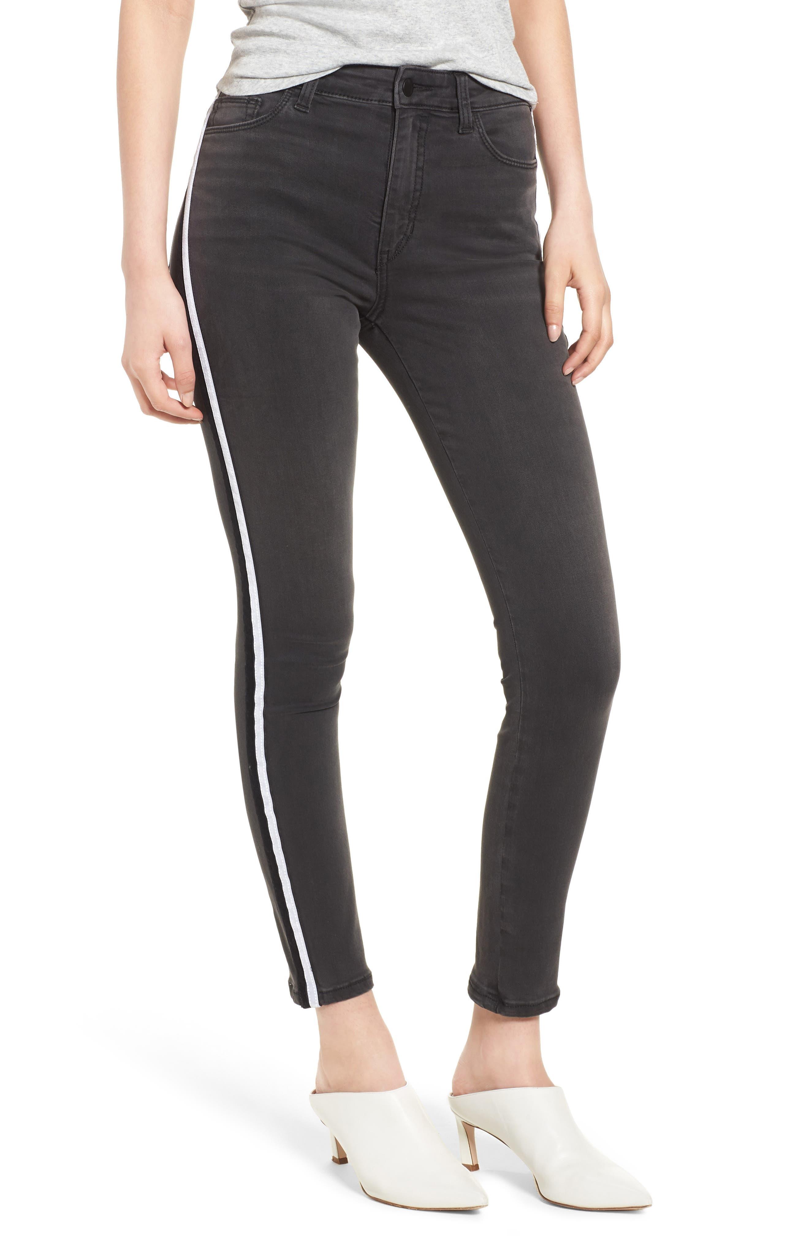 Charlie Velvet Stripe Ankle Skinny Jeans,                             Main thumbnail 1, color,                             Ashley