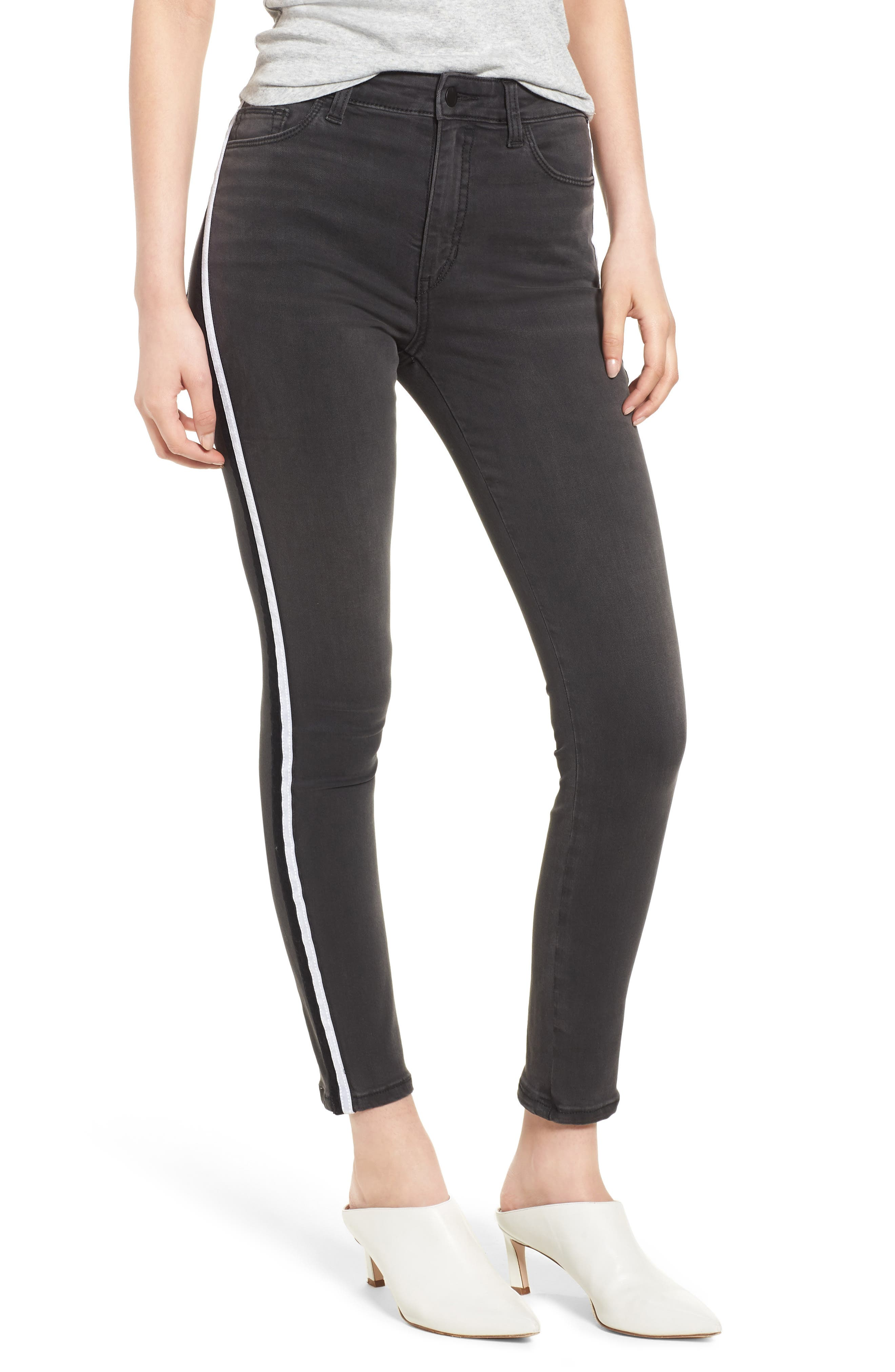 Charlie Velvet Stripe Ankle Skinny Jeans,                         Main,                         color, Ashley
