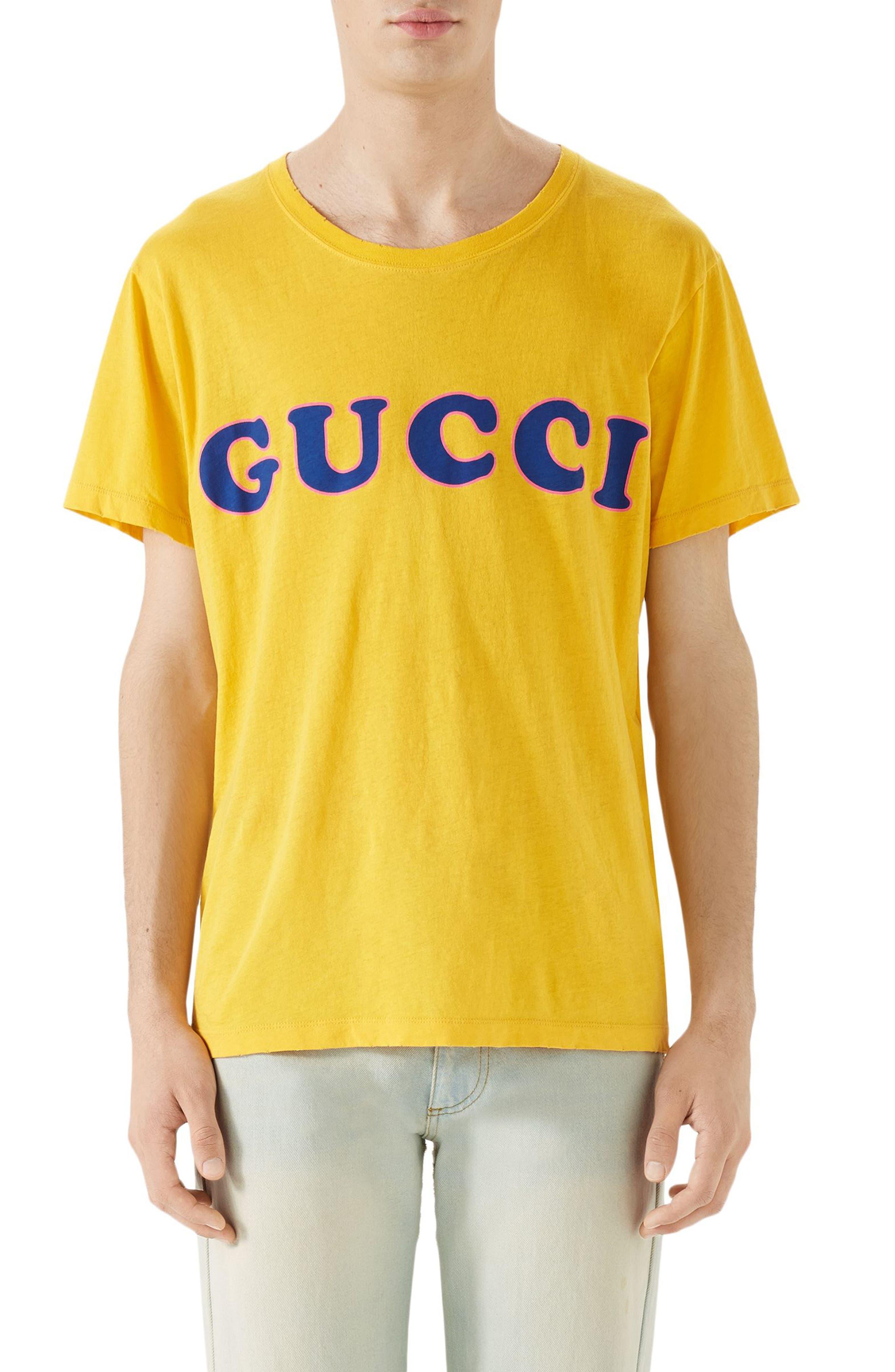 Vintage Wash Logo T-Shirt,                         Main,                         color, Yellow