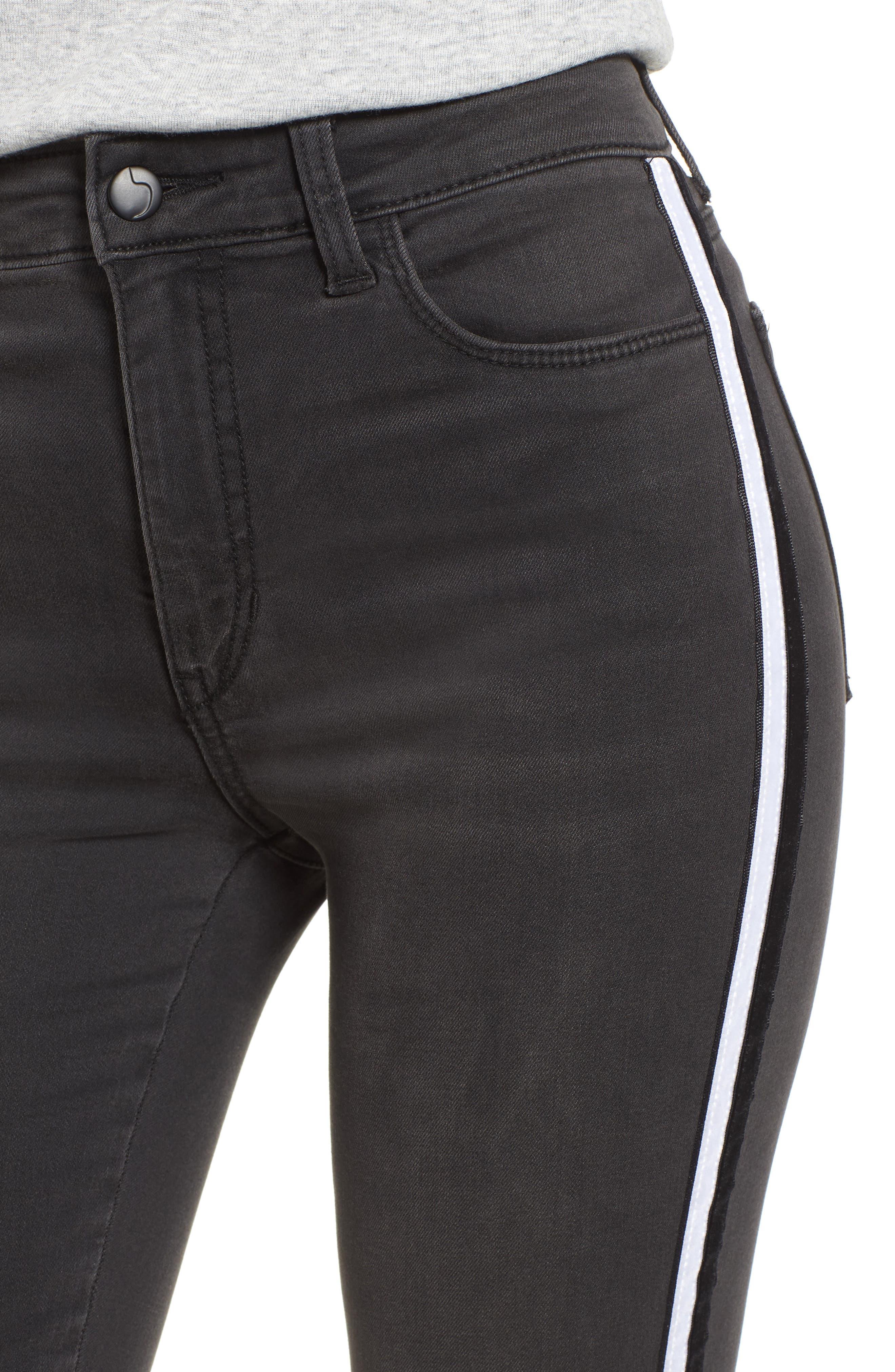 Charlie Velvet Stripe Ankle Skinny Jeans,                             Alternate thumbnail 4, color,                             Ashley
