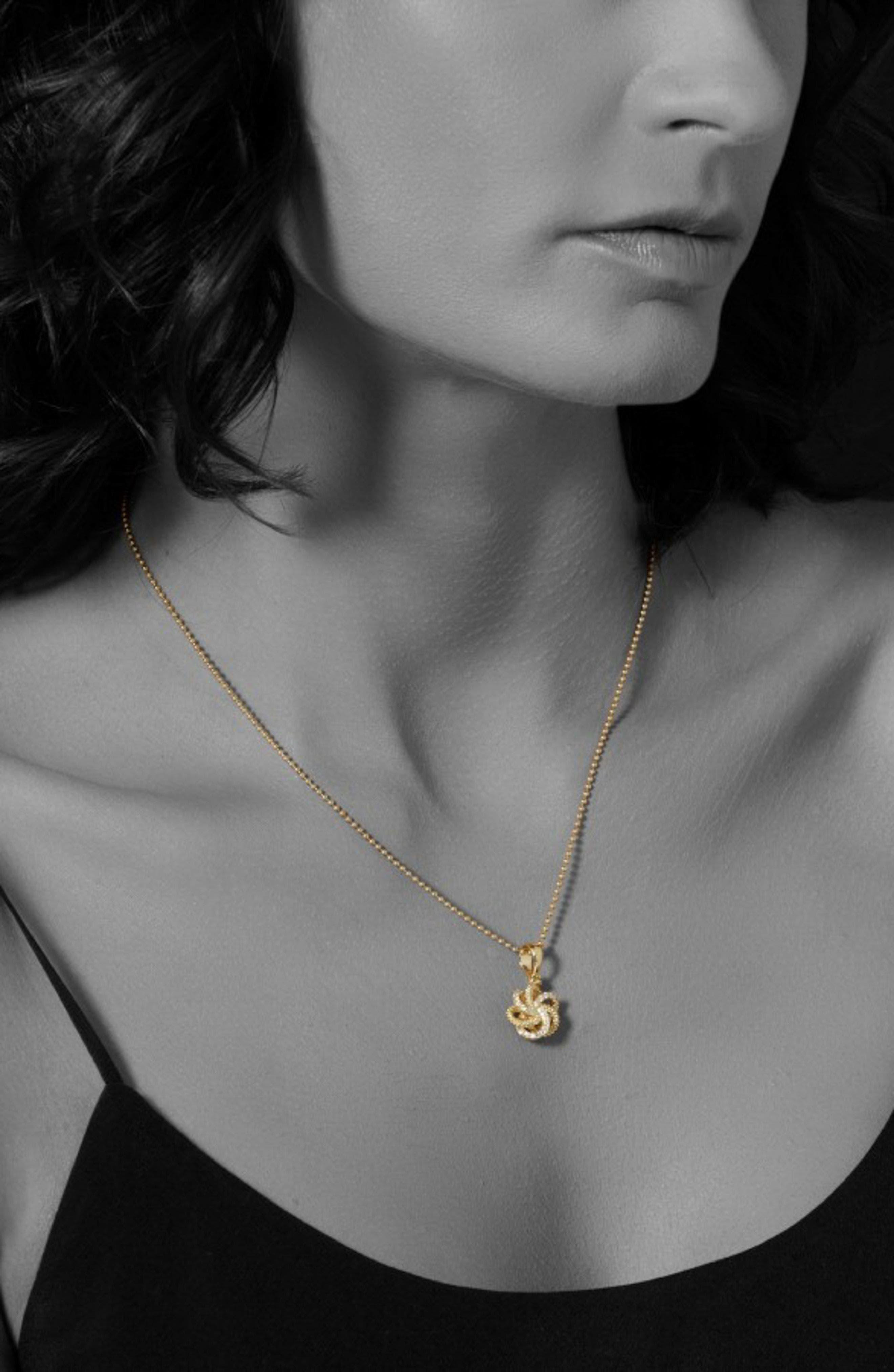 'Love Knot' Diamond Pendant Necklace,                             Alternate thumbnail 3, color,                             Gold