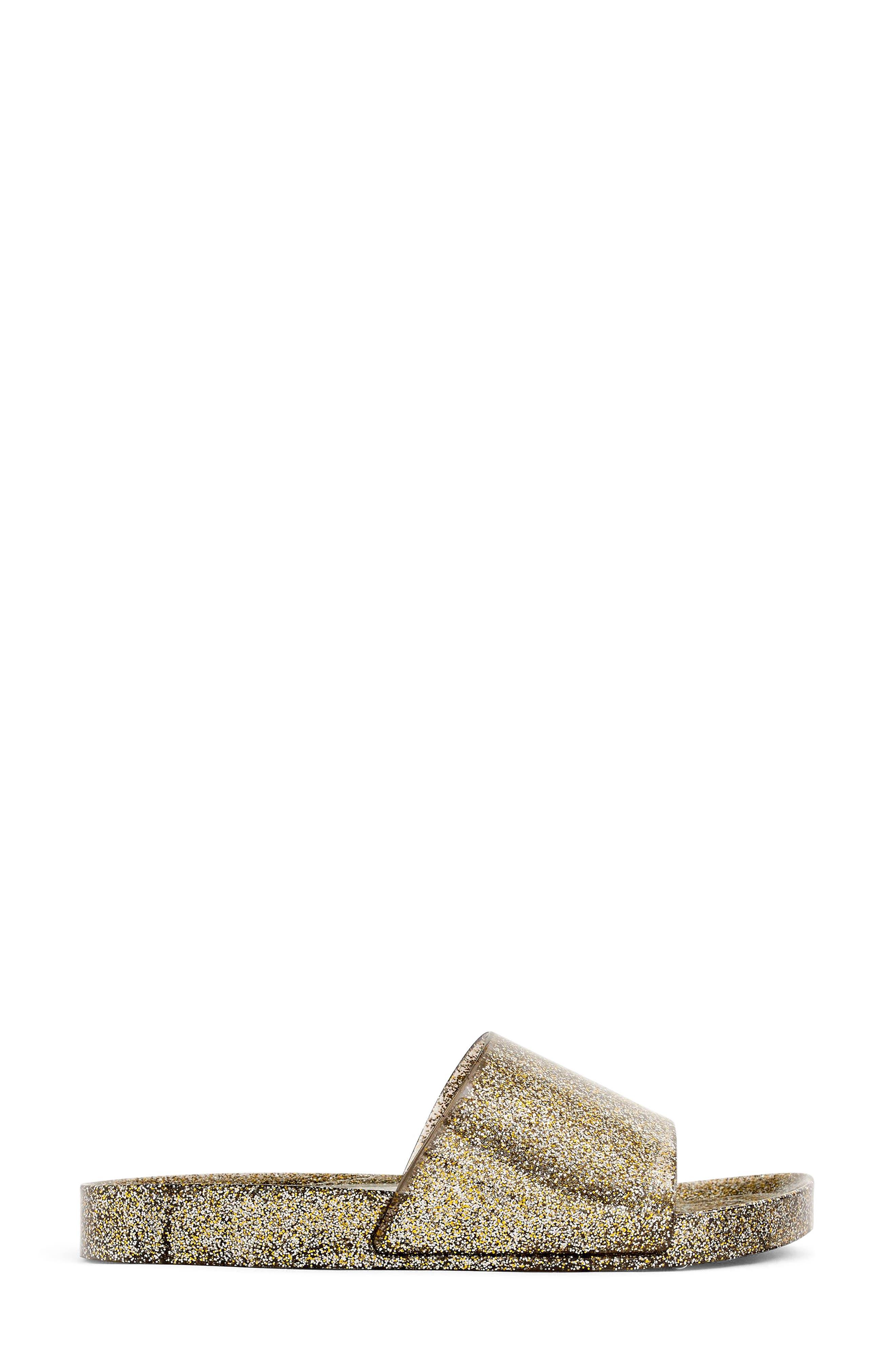 Glitter Slide Sandal,                             Alternate thumbnail 2, color,                             Grey/ Gold
