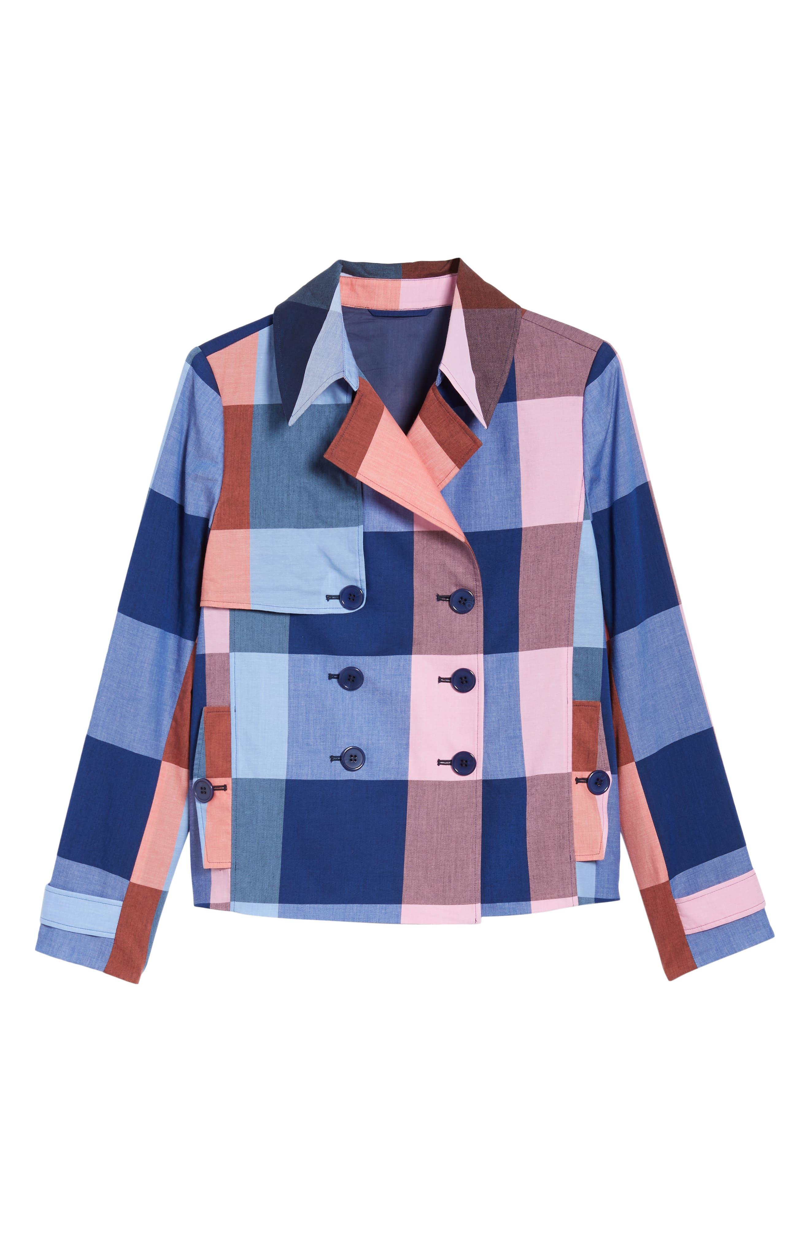 Double Breasted Plaid Cotton Blazer,                             Alternate thumbnail 7, color,                             Pink- Blue Plaid