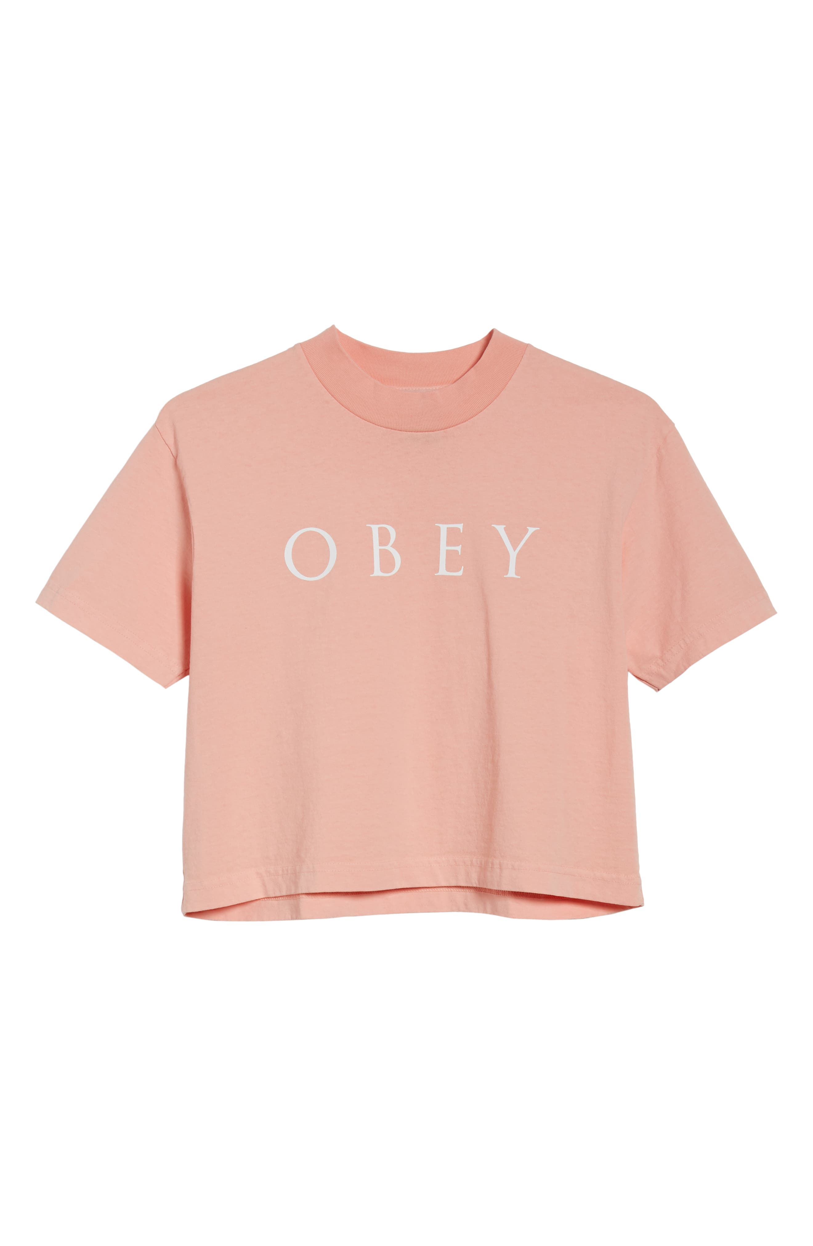 Novel Obey II Crop Tee,                             Alternate thumbnail 6, color,                             Peach