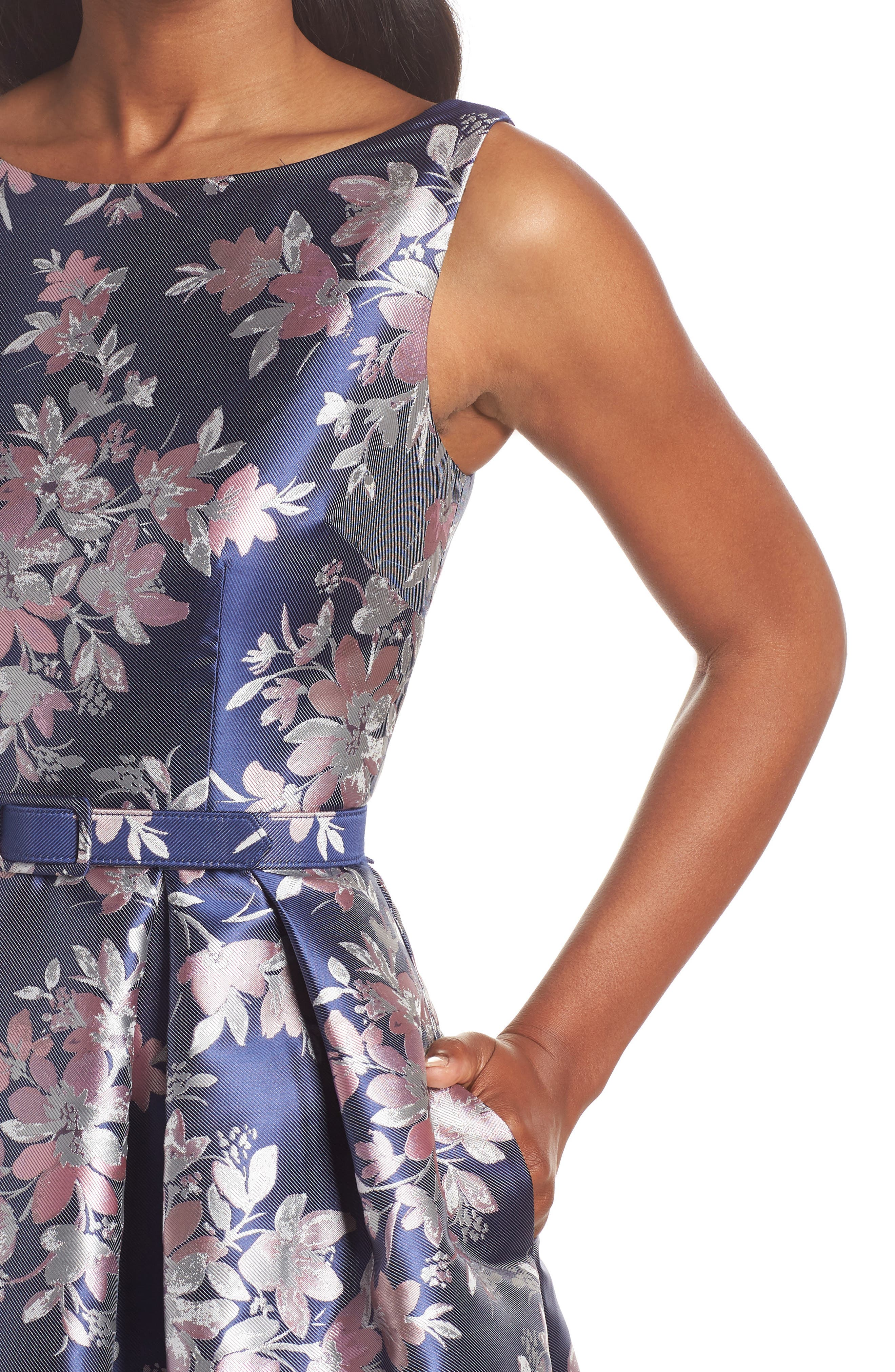 Floral Jacquard Fit & Flare Dress,                             Alternate thumbnail 4, color,                             Navy