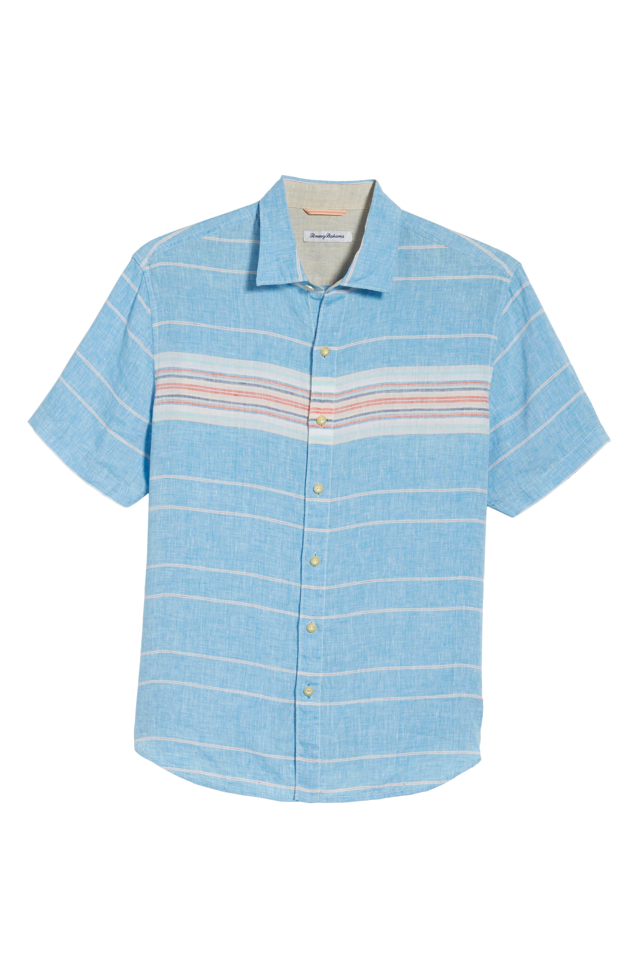 Serape Stripe Linen Sport Shirt,                             Alternate thumbnail 6, color,                             Blue Aster