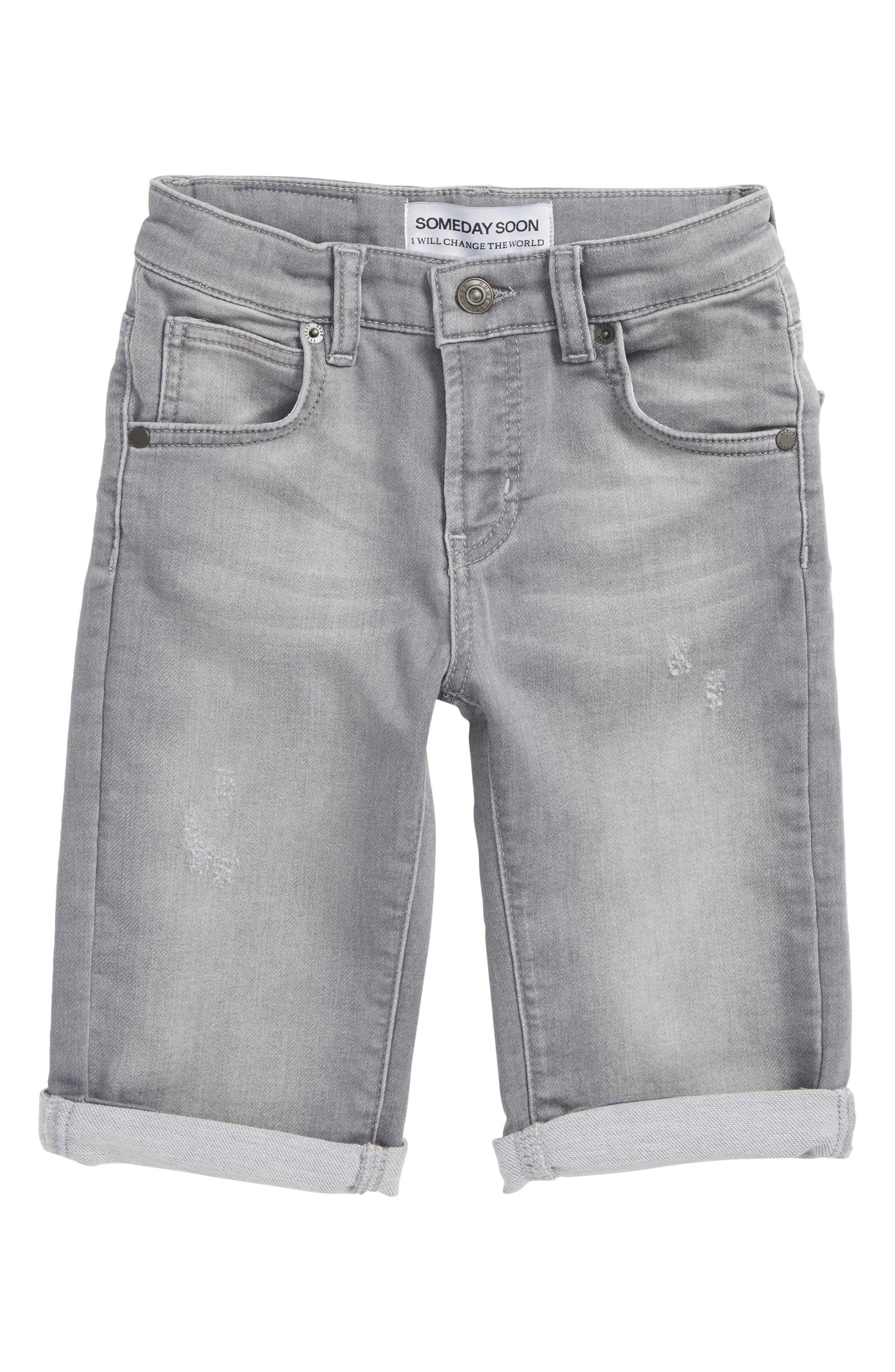Carl Denim Shorts,                         Main,                         color, Grey