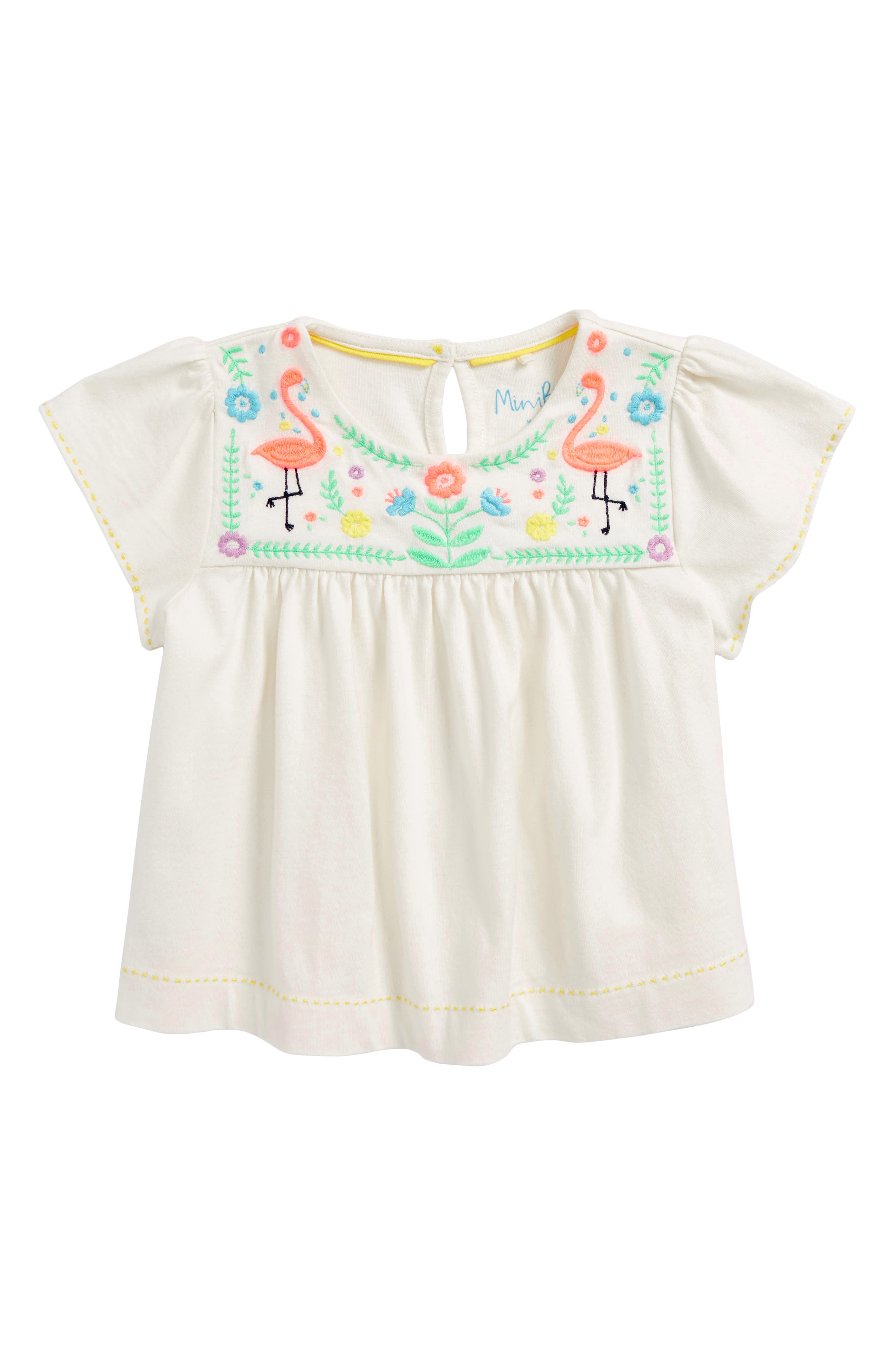 Embroidered Joke Top,                         Main,                         color, Ivory/ Multi