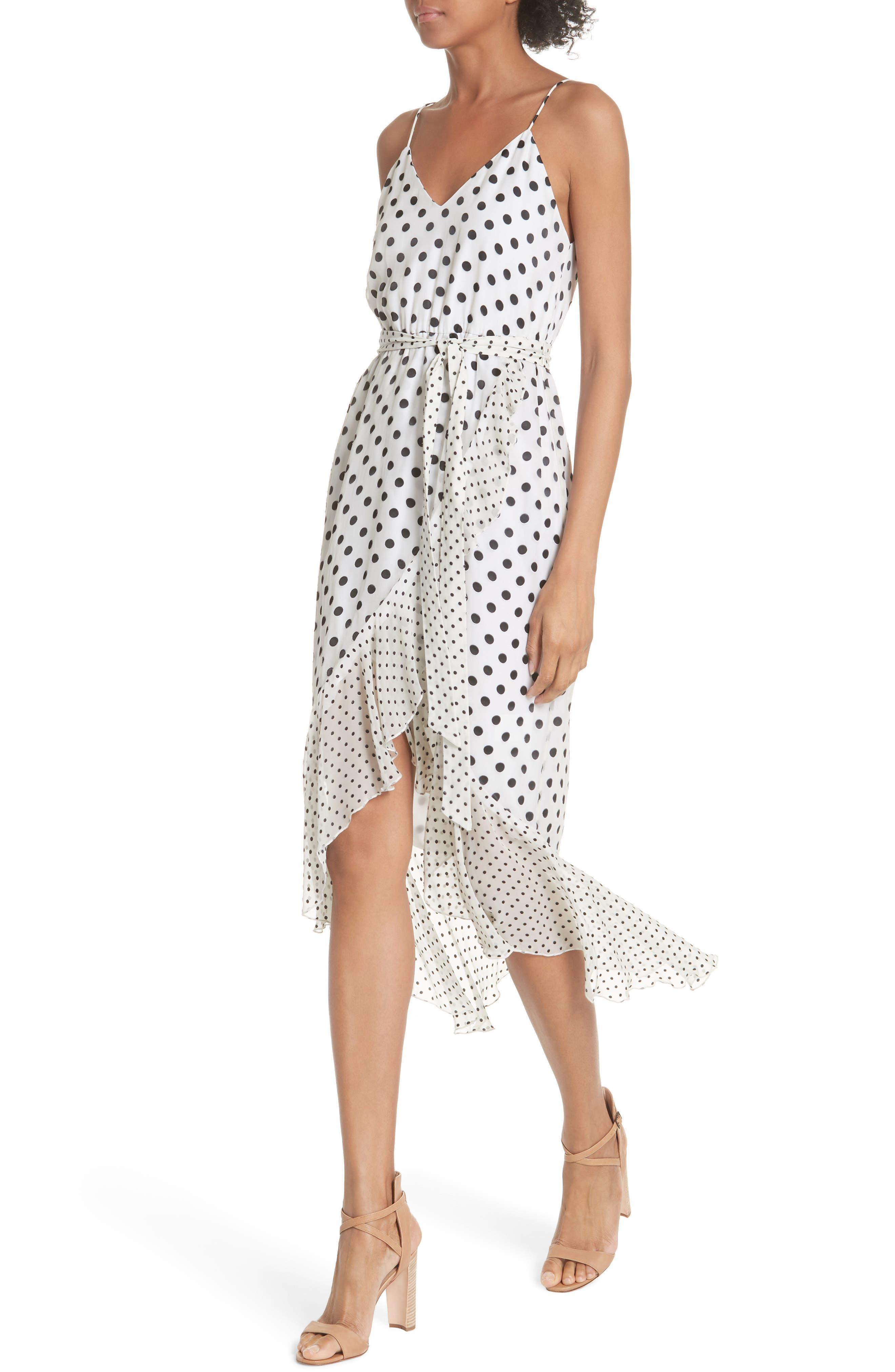 Ruffle Faux Wrap Dress,                             Alternate thumbnail 4, color,                             Soft White Mono Dot