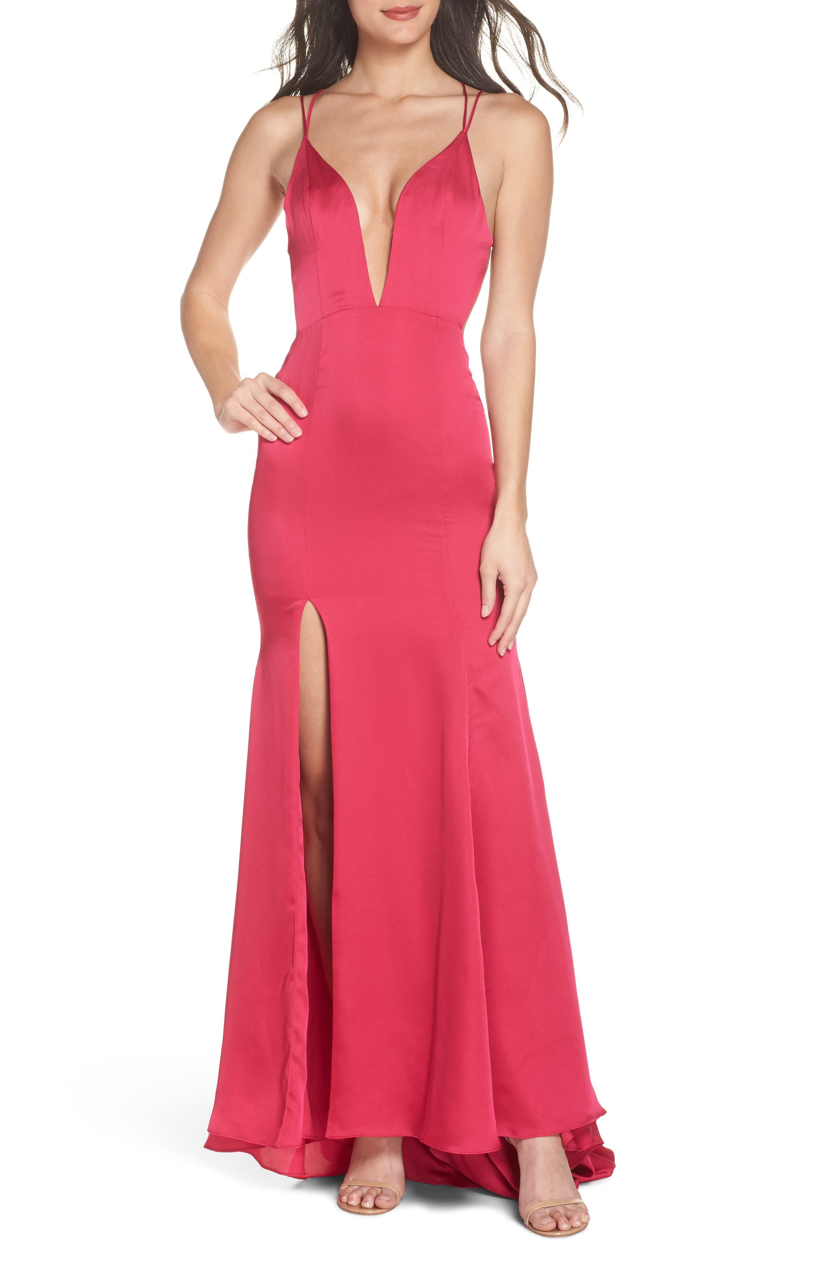 The Thora Satin Gown,                         Main,                         color, Fuchsia