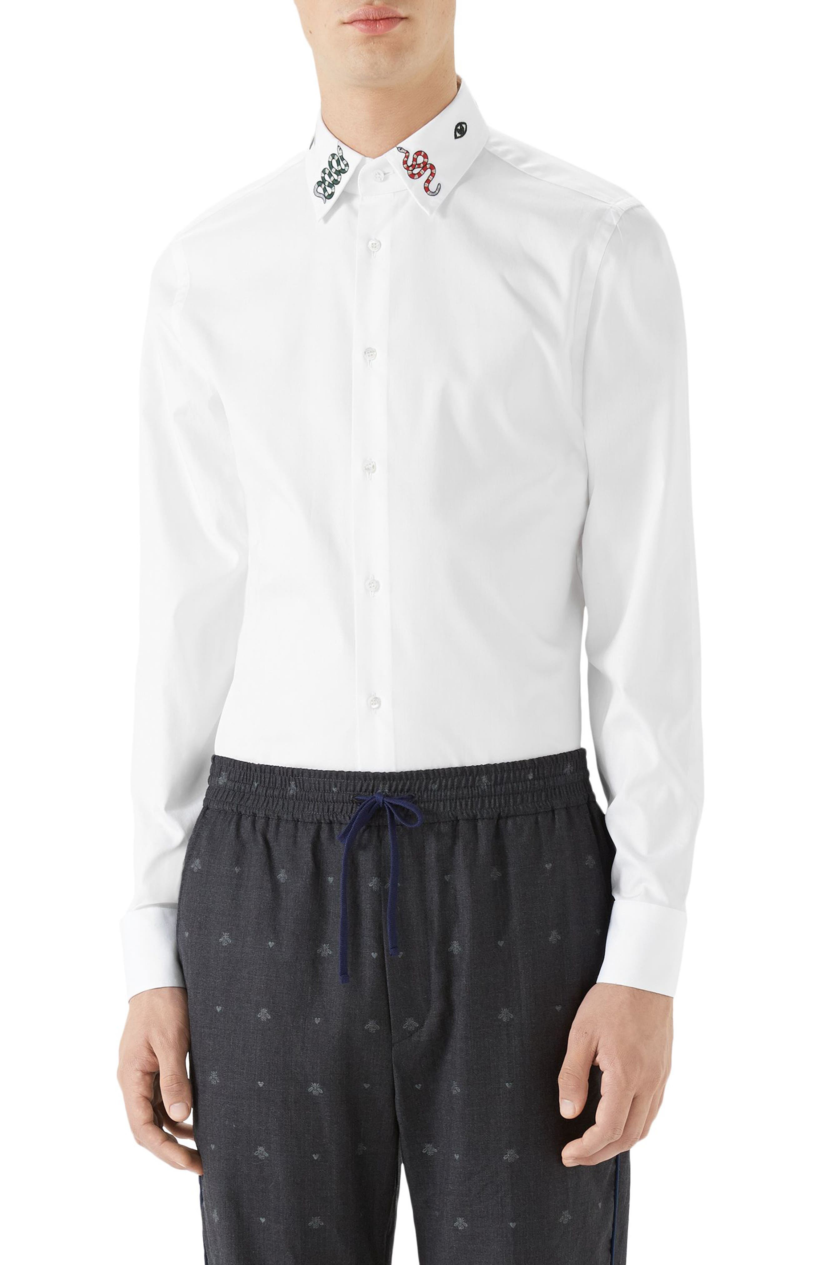 Embroidered Collar Emblem Sport Shirt,                         Main,                         color, White
