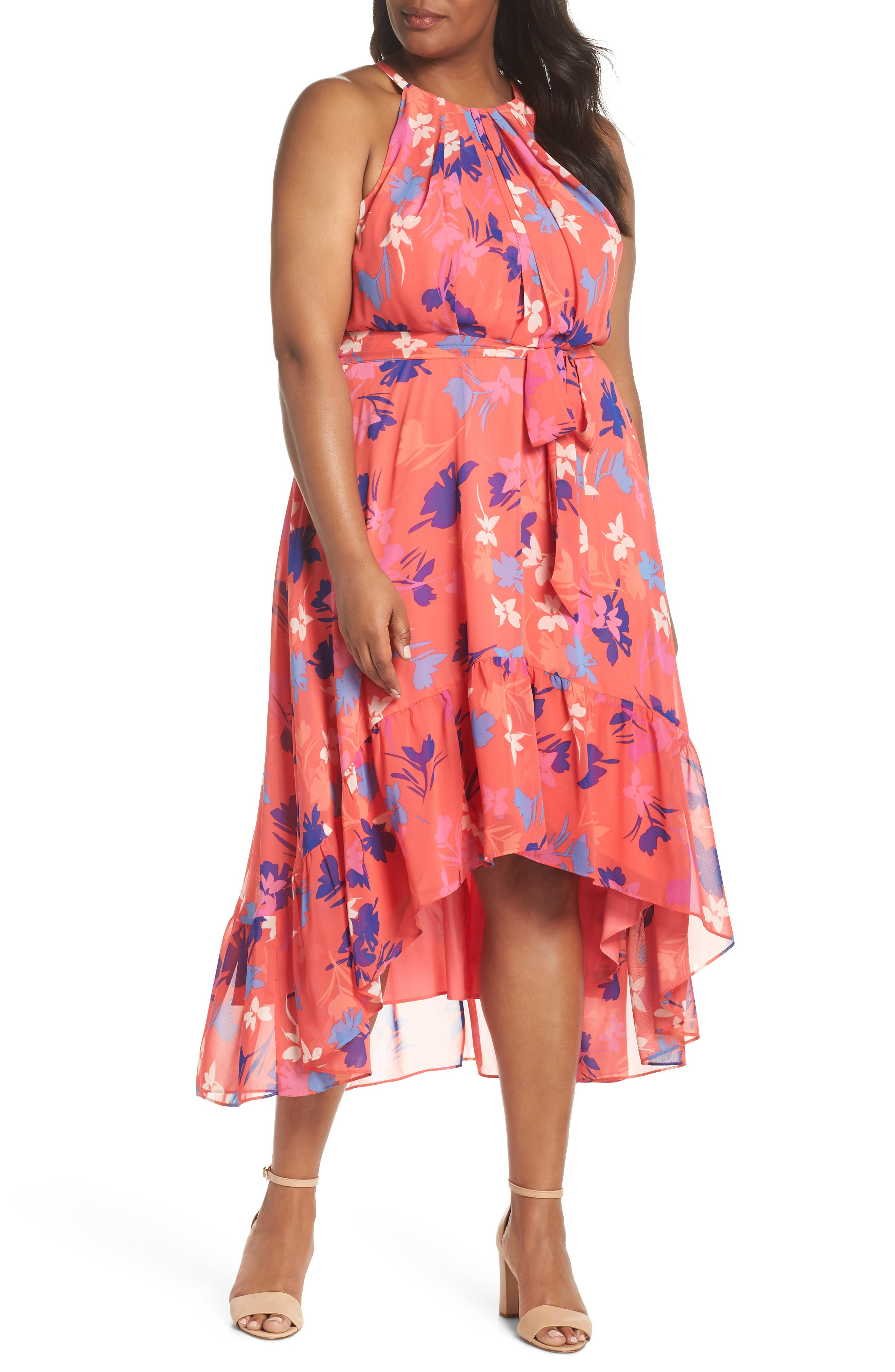 Floral High/Low Halter Dress,                             Main thumbnail 1, color,                             Coral/ Fiery Fuchsia/ Navy
