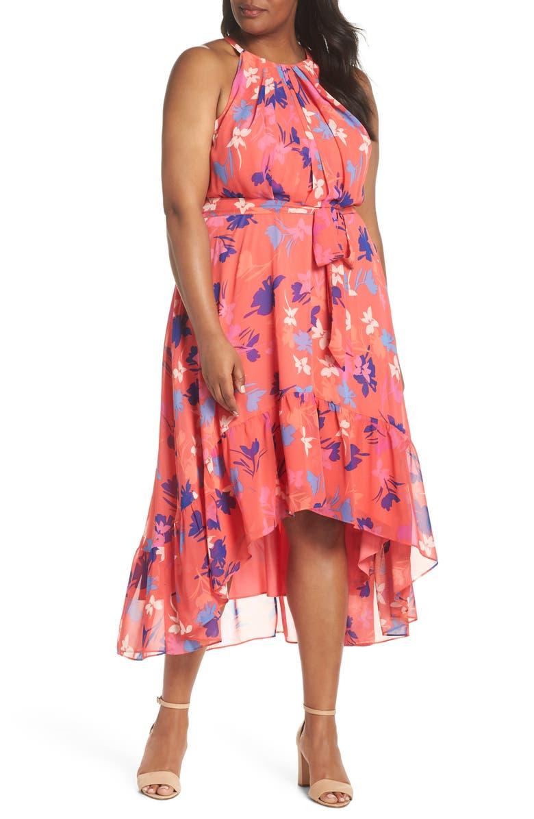 Floral High/Low Halter Dress