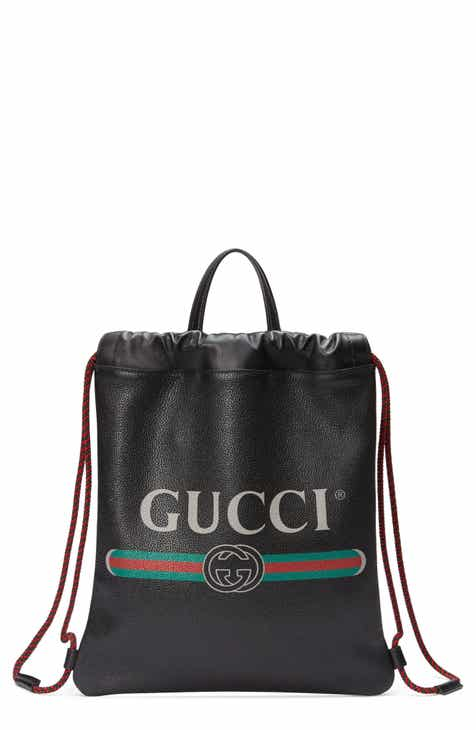 6d3da68c6d2f Gucci Small Logo Leather Drawstring Backpack