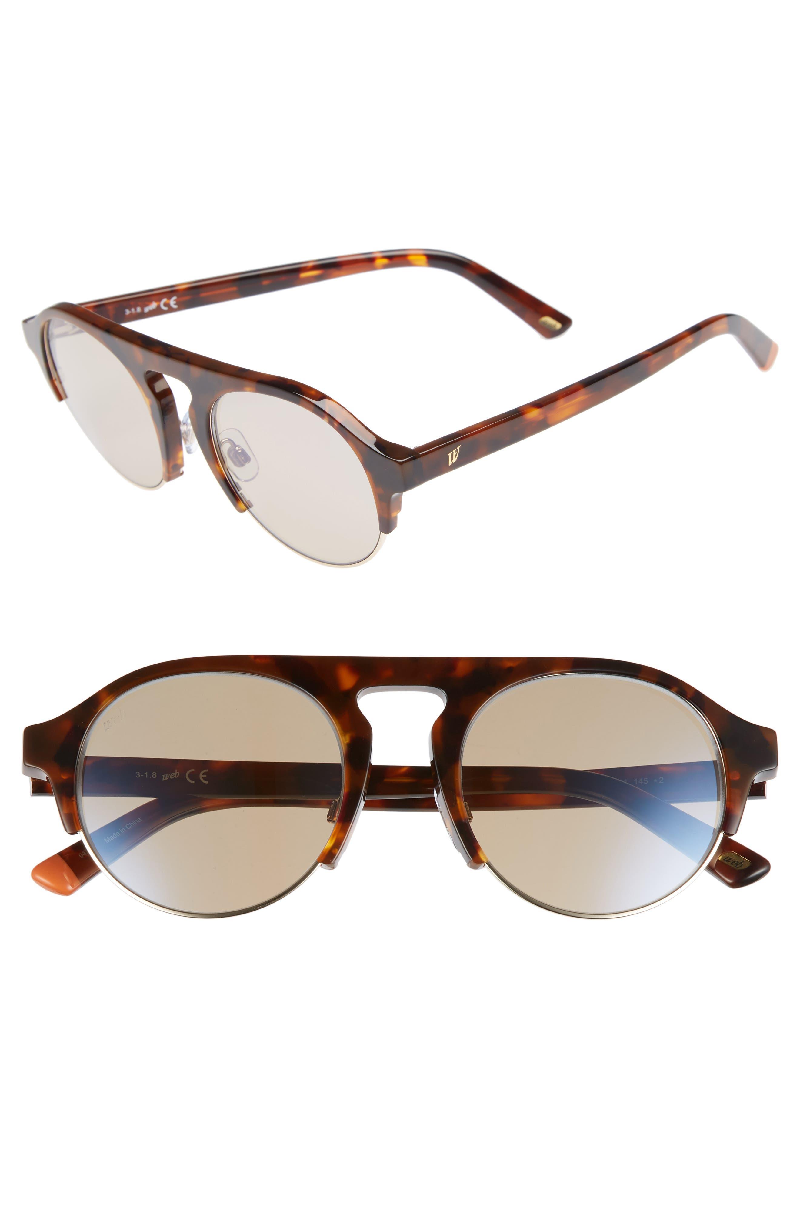 52mm Sunglasses,                         Main,                         color, Dark Havana/ Brown Mirror