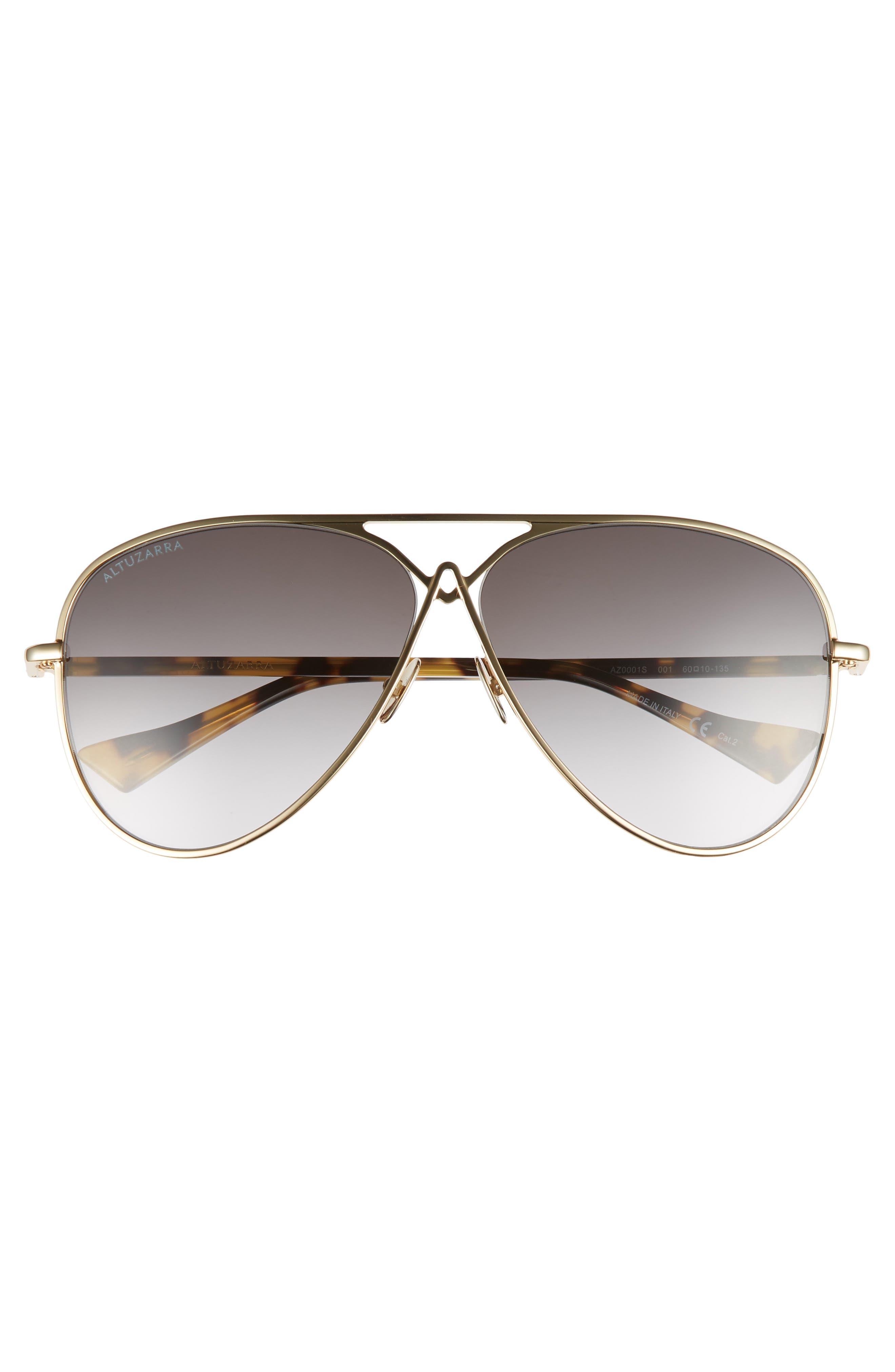 60mm Metal Aviator Sunglasses,                             Alternate thumbnail 3, color,                             Gold