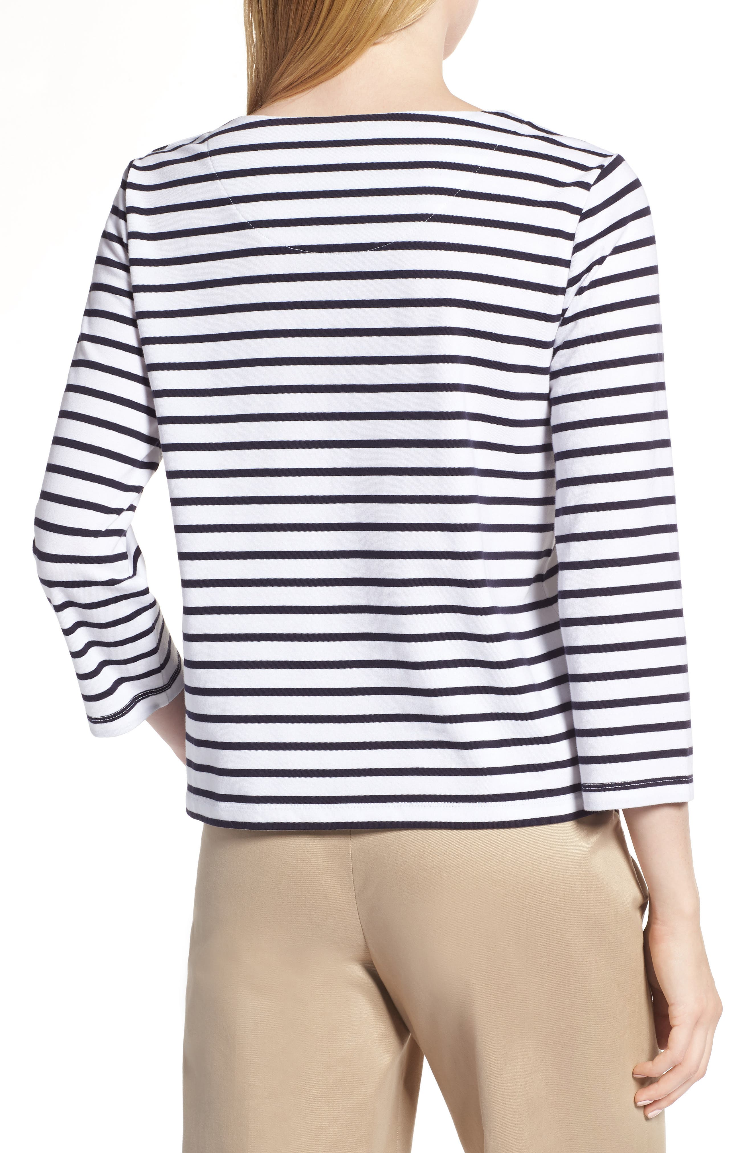 Shoulder Button Cotton Top,                             Alternate thumbnail 2, color,                             White- Navy Stripe
