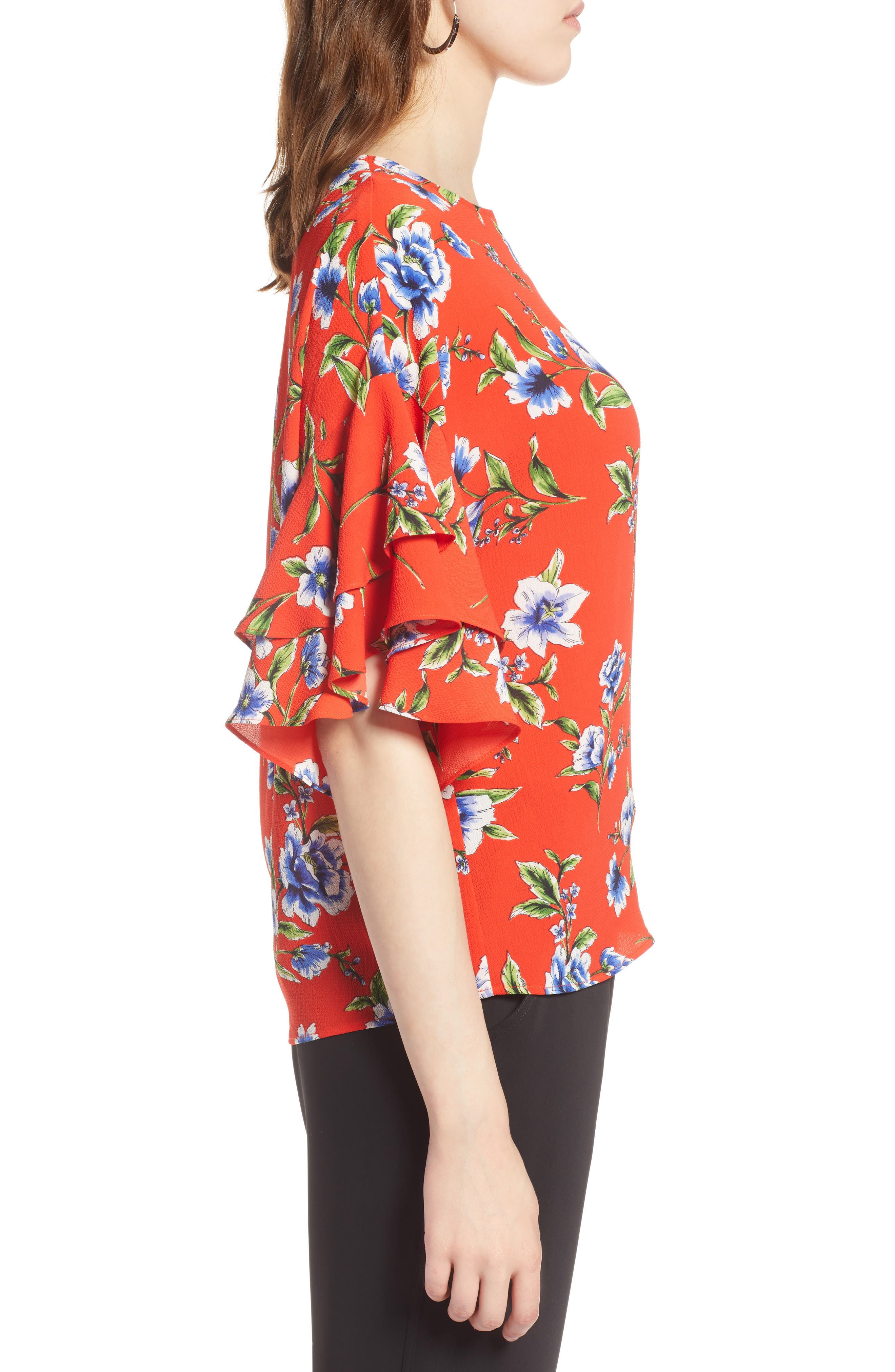 Ruffle Sleeve Print Top,                             Alternate thumbnail 3, color,                             Red Blossom Print