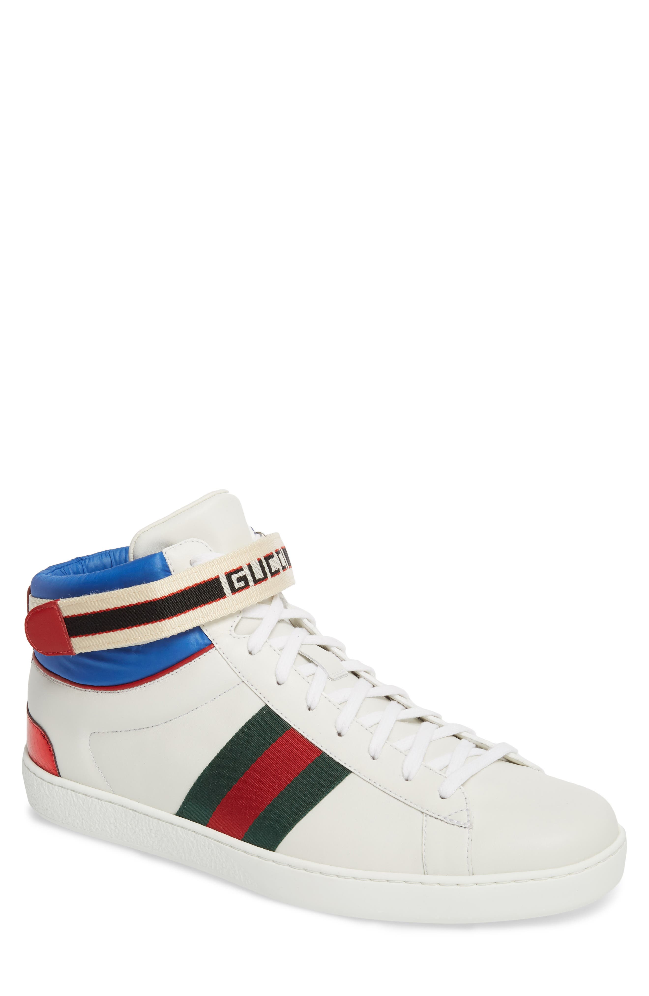 Gucci New Ace High Logo Strap Sneaker (Men)