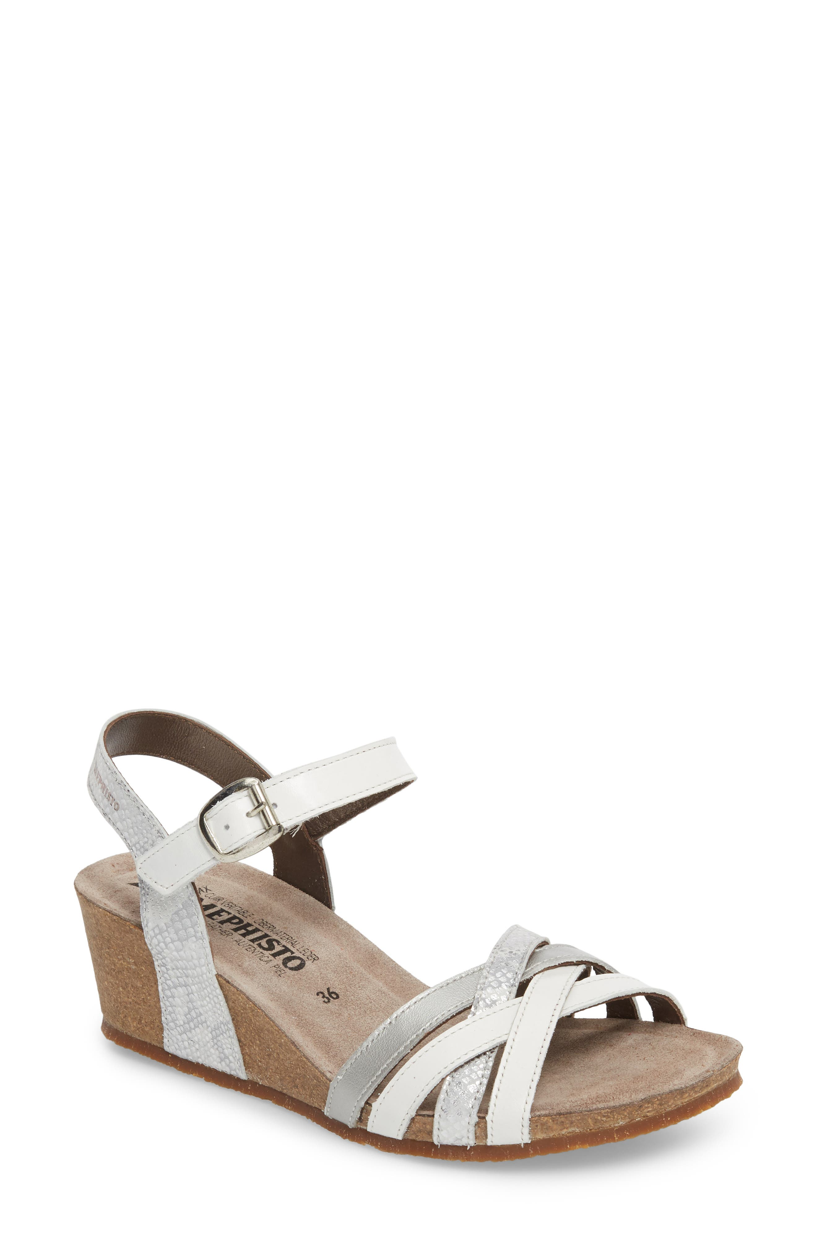 Mado Wedge Sandal,                         Main,                         color, White Leather