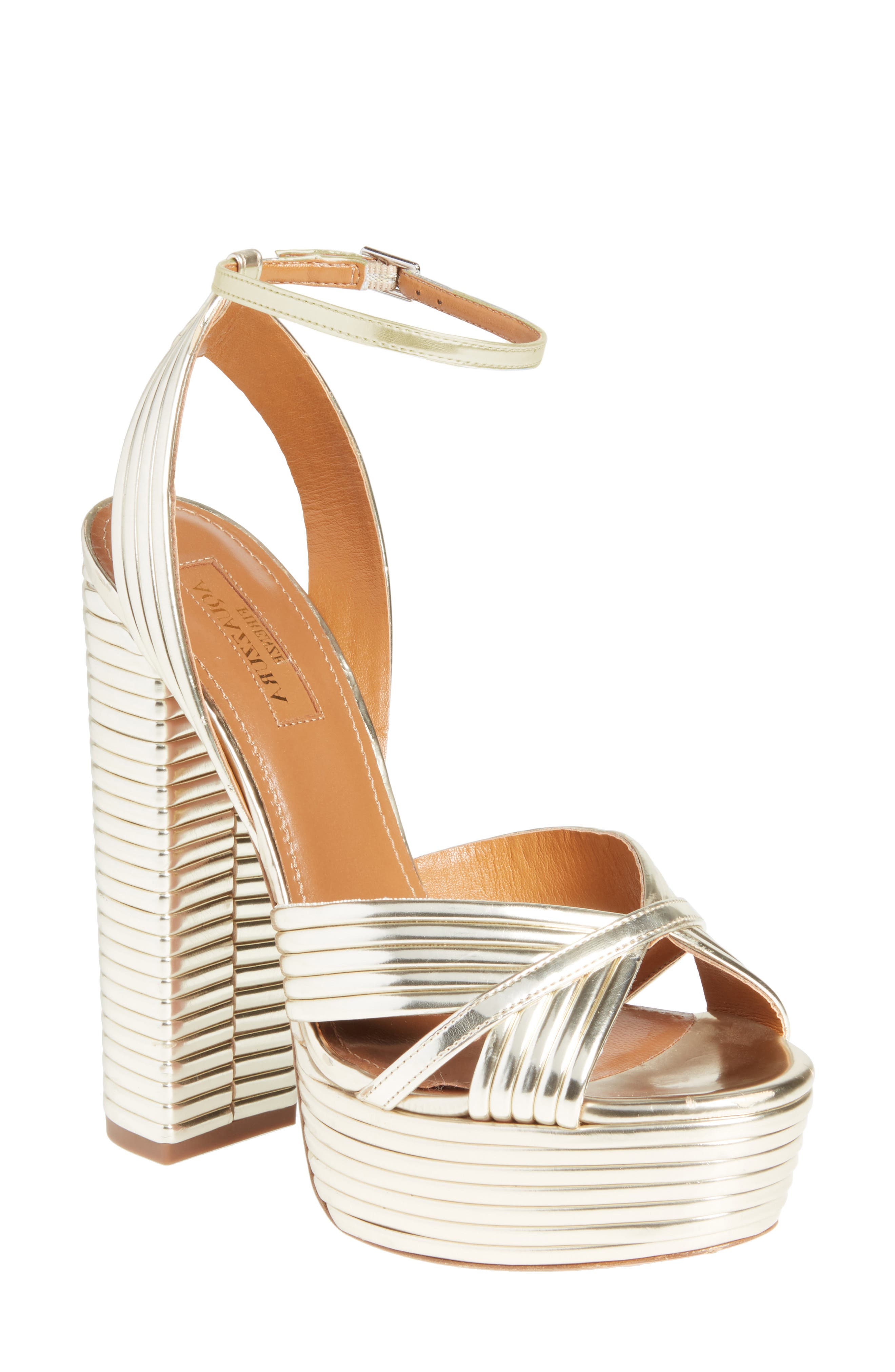 Sundance Platform Sandal,                             Main thumbnail 1, color,                             Light Gold