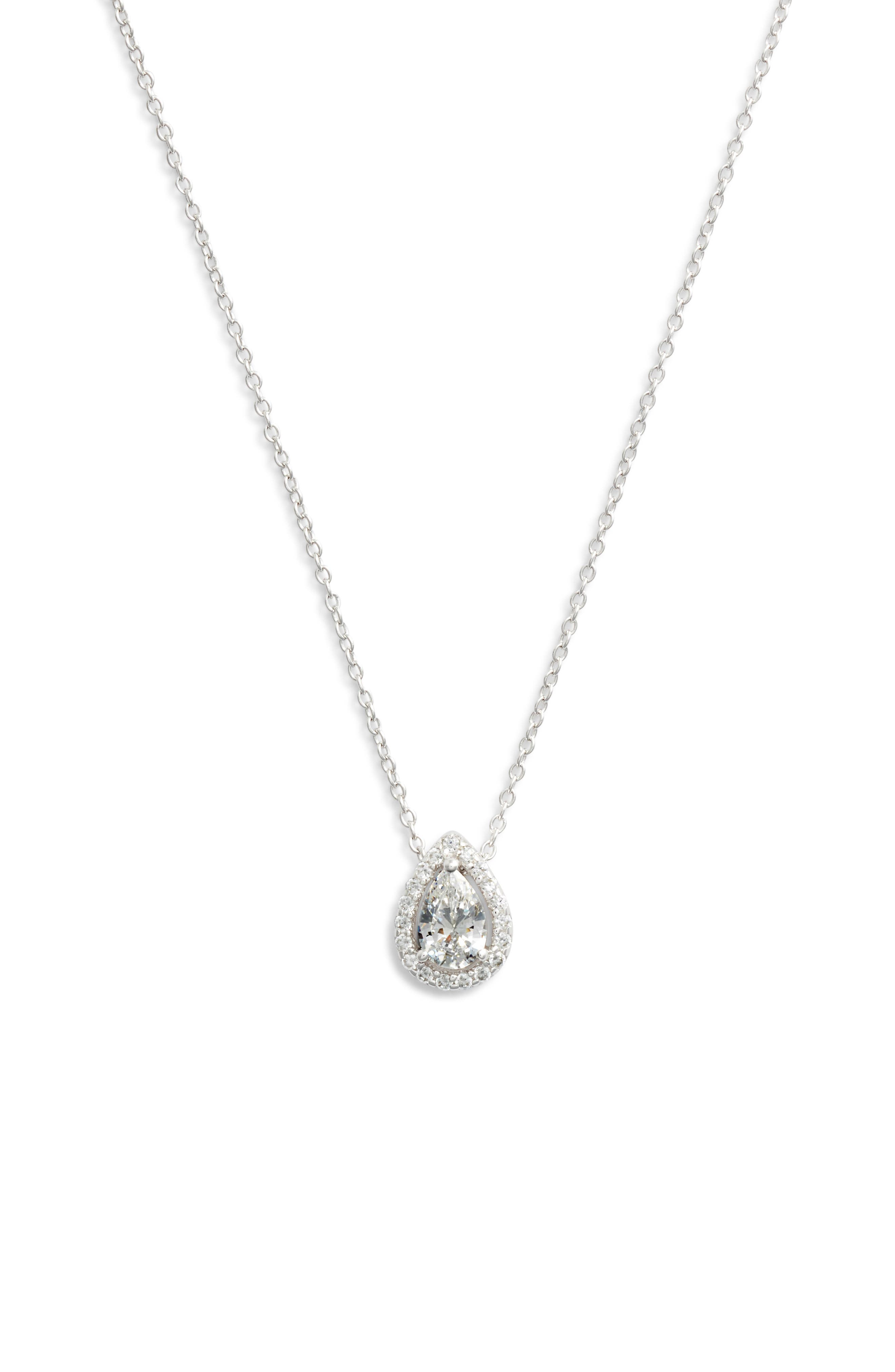 Pear Shaped Halo Necklace,                         Main,                         color, Silver/ Clear