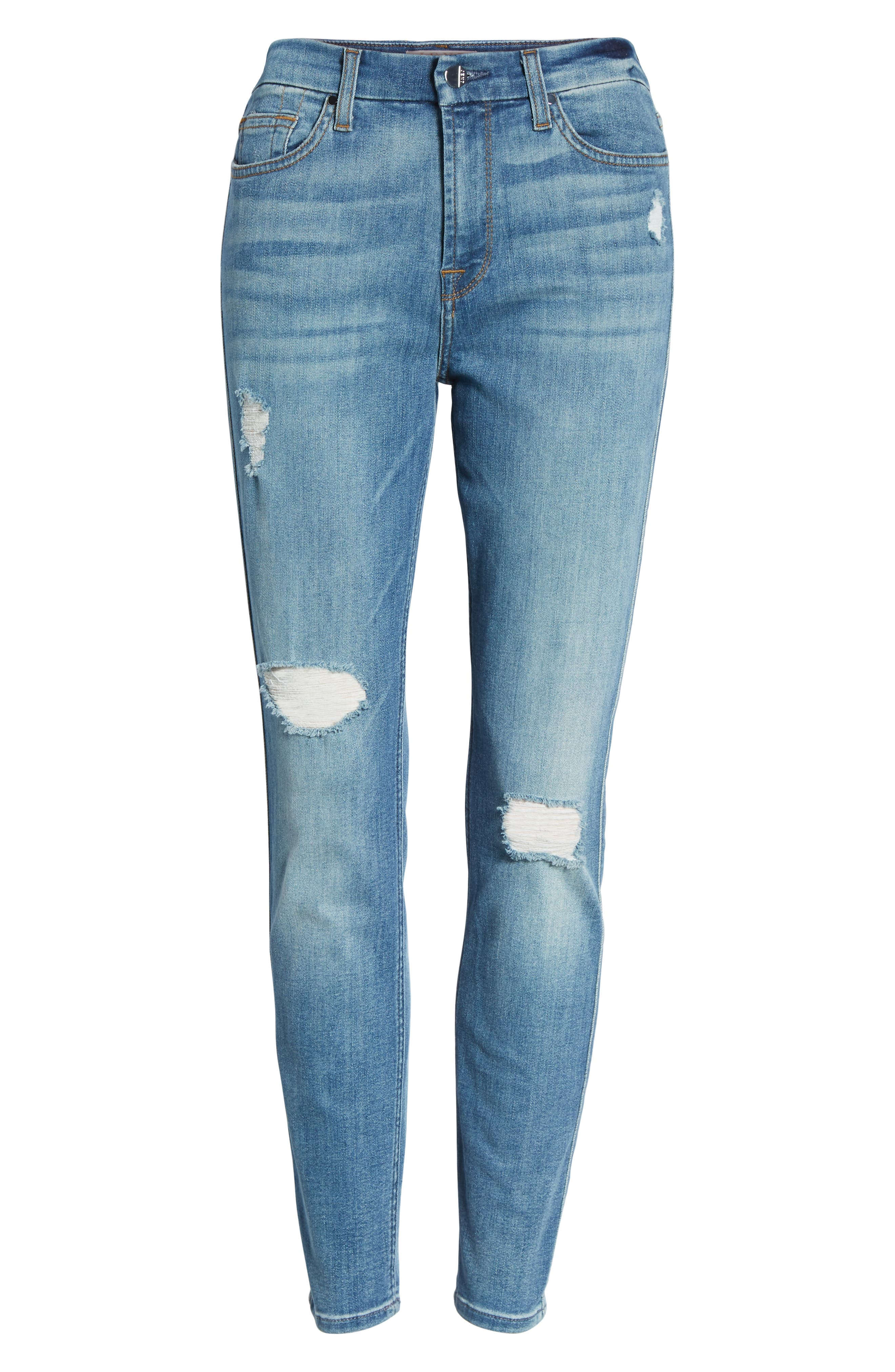 Ripped Ankle Skinny Jeans,                             Alternate thumbnail 7, color,                             Symphony Blue